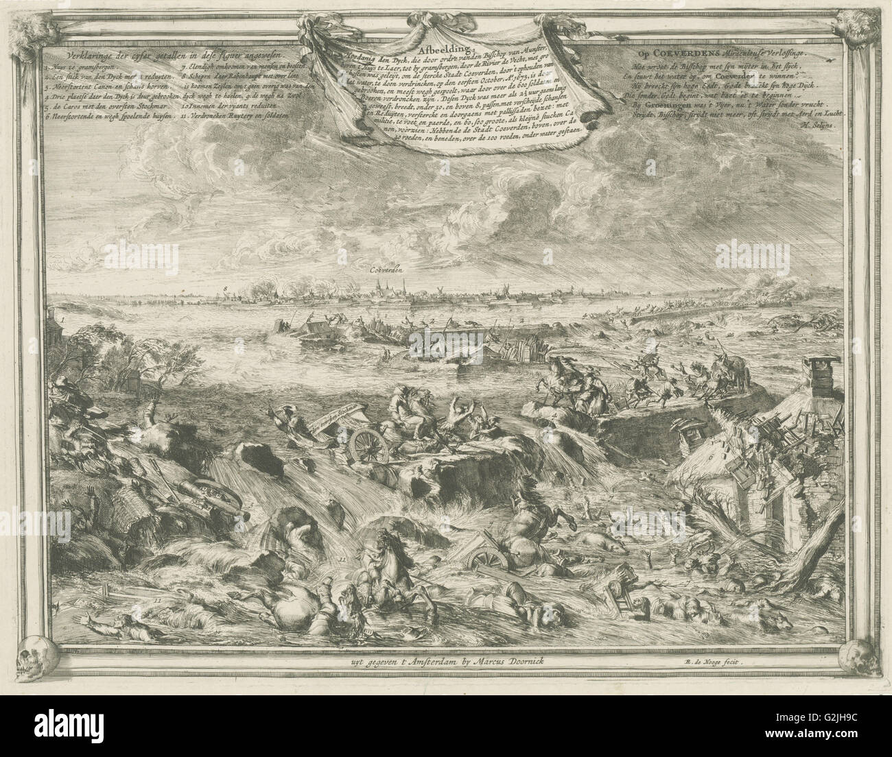 Dike near Coevorden, October 1 1673, enemy cavalry and artillery are washed away by the water - Stock Image