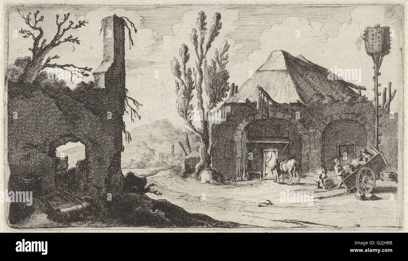 Country road at a ruin and an inn, Gillis van Scheyndel (I), 1605 - 1653 - Stock Image
