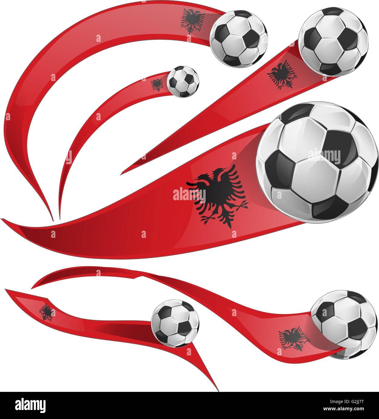 albania flag set with soccer ball isolated - Stock Vector