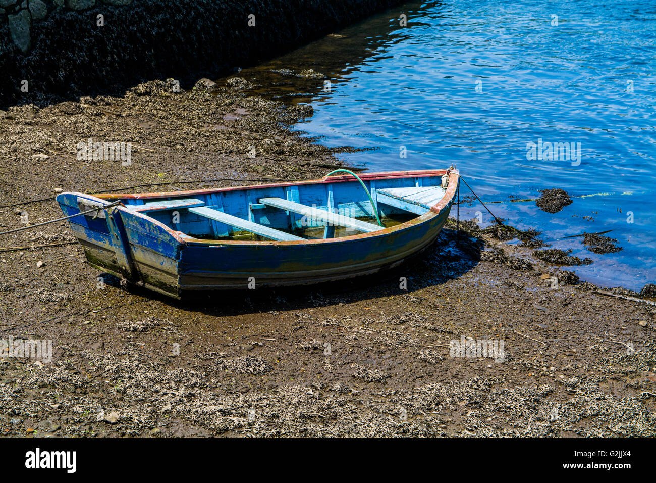 Old Blue Boat Moored at Riverbank - Stock Image