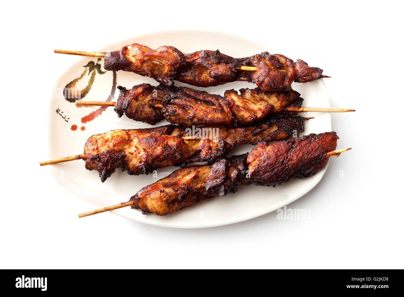 Grilled Chicken Skewers - Stock Image