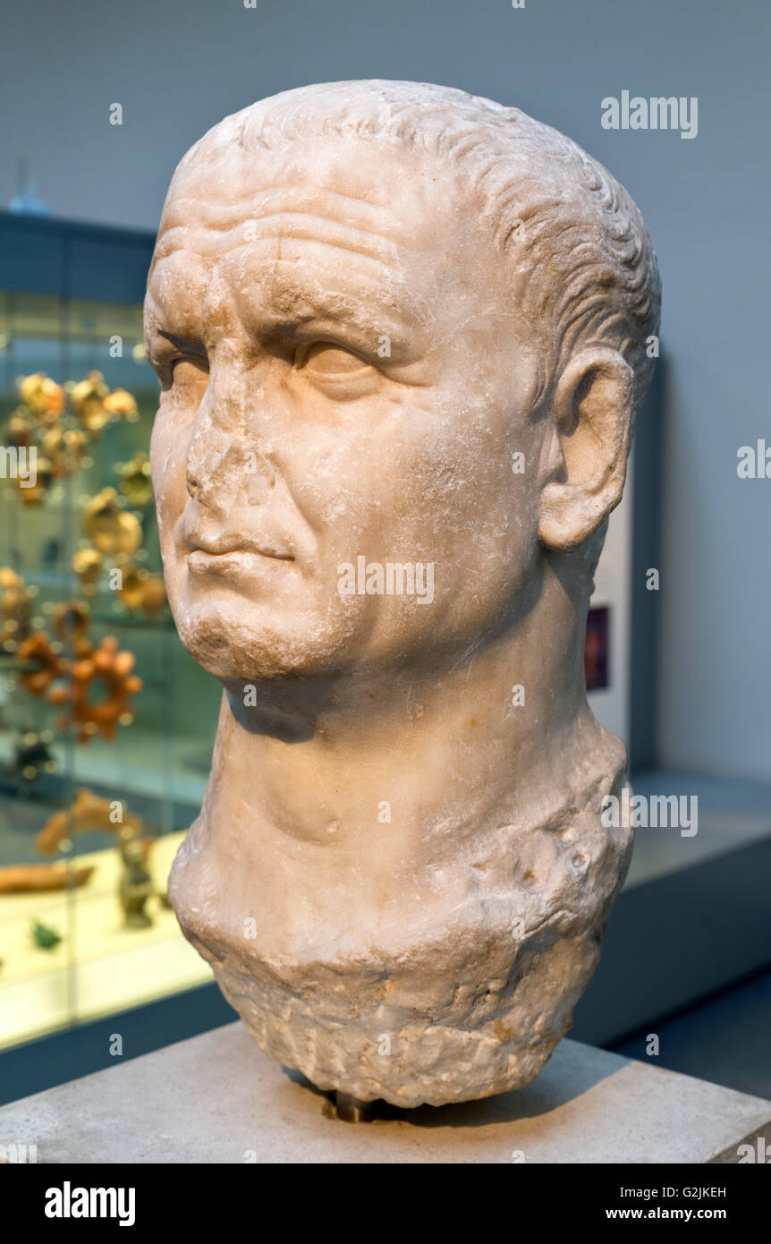 Marble bust of the Emperor Vespasian (AD 9 – 79), ninth Emperor of the Roman Empire (AD 69-79), date of statue c. - Stock Image