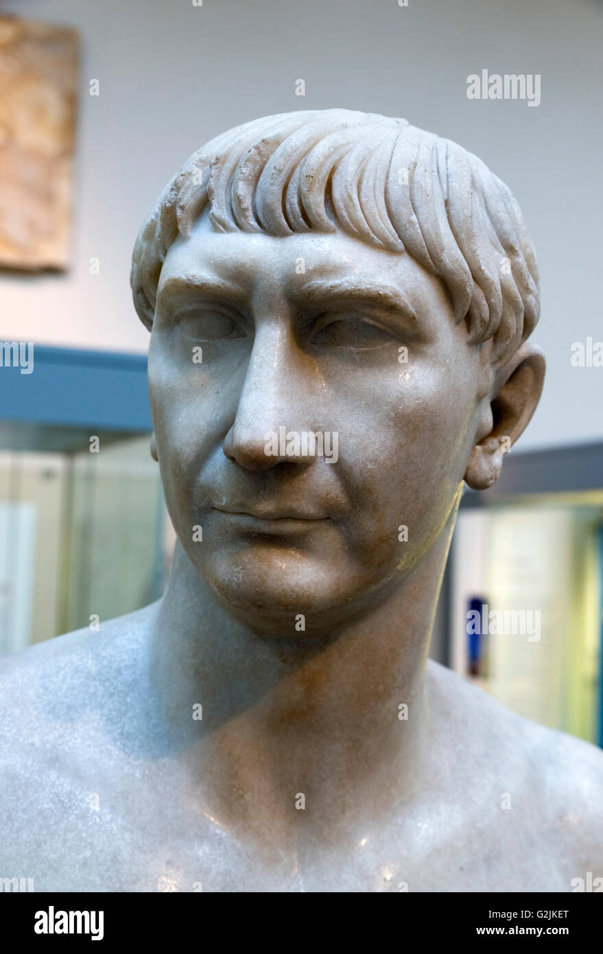 Marble bust of the Emperor Trajan (AD 53 - 117), thirteenth Emperor of the Roman Empire (AD 98-117), date of statue - Stock Image