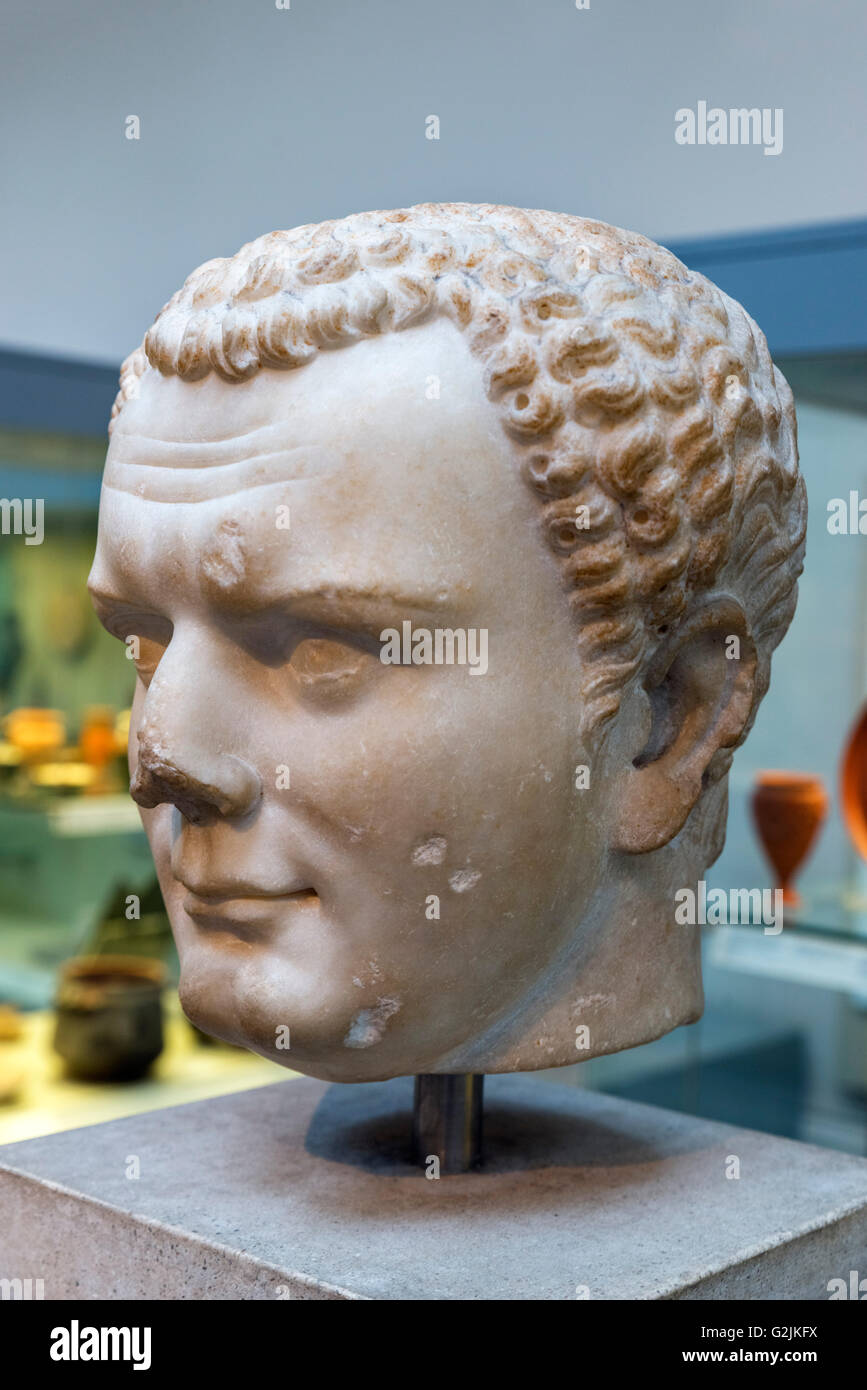 Marble bust of the Emperor Titus (AD 39 – 81), tenth Emperor of the Roman Empire (AD 79-81), date of statue c. AD - Stock Image