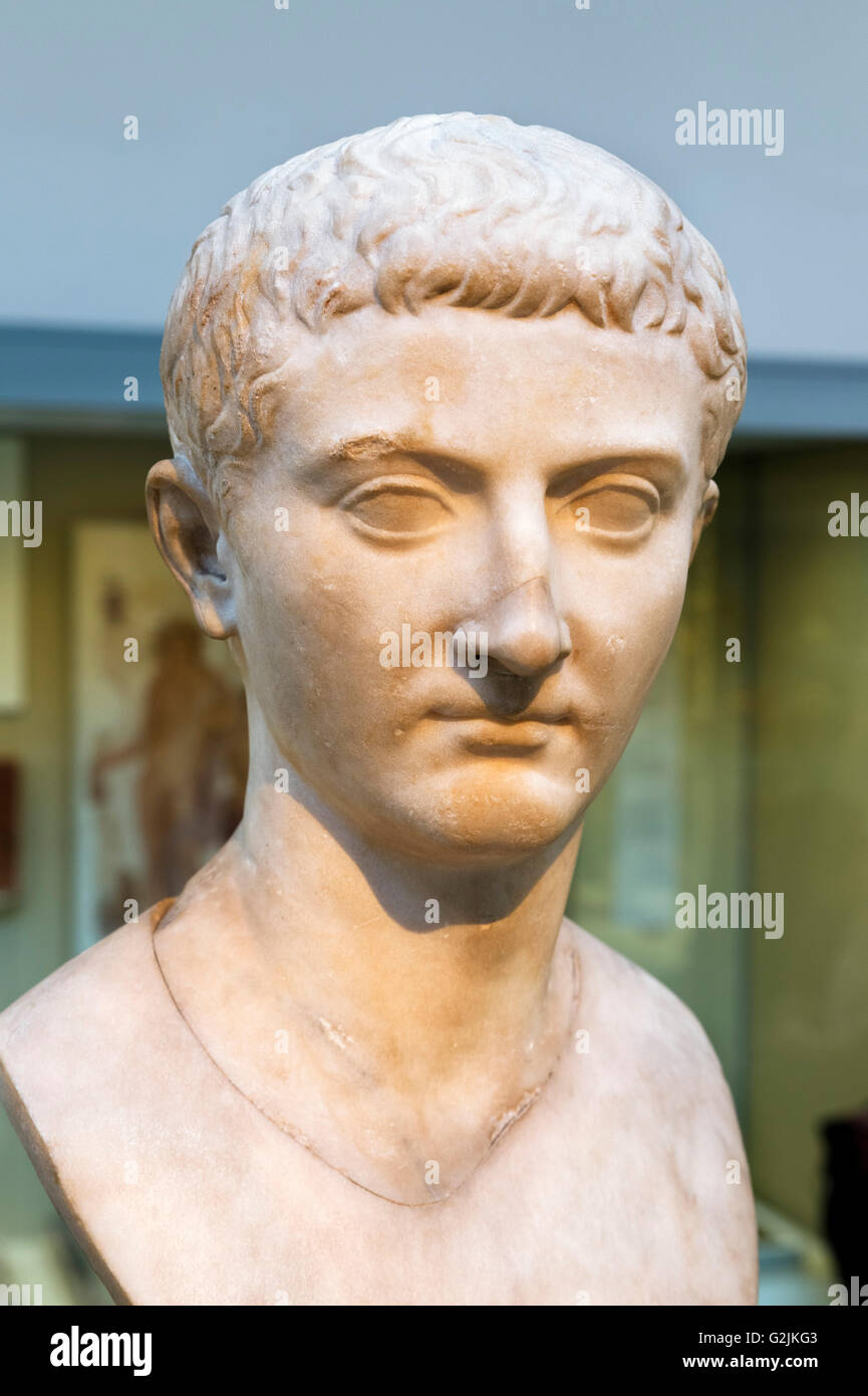 Marble head of the Emperor Tiberius (42 BC - 37 AD), second Emperor of the Roman Empire (AD 14-37), date of statue - Stock Image