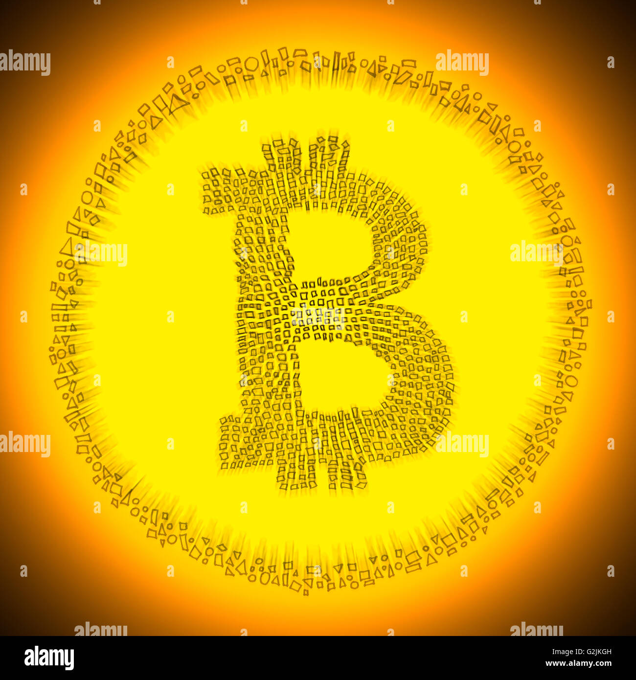 Golden radiant digital Blockchain Bitcoin technology logo. Illustration of an electronic decentralized crypto currency - Stock Image