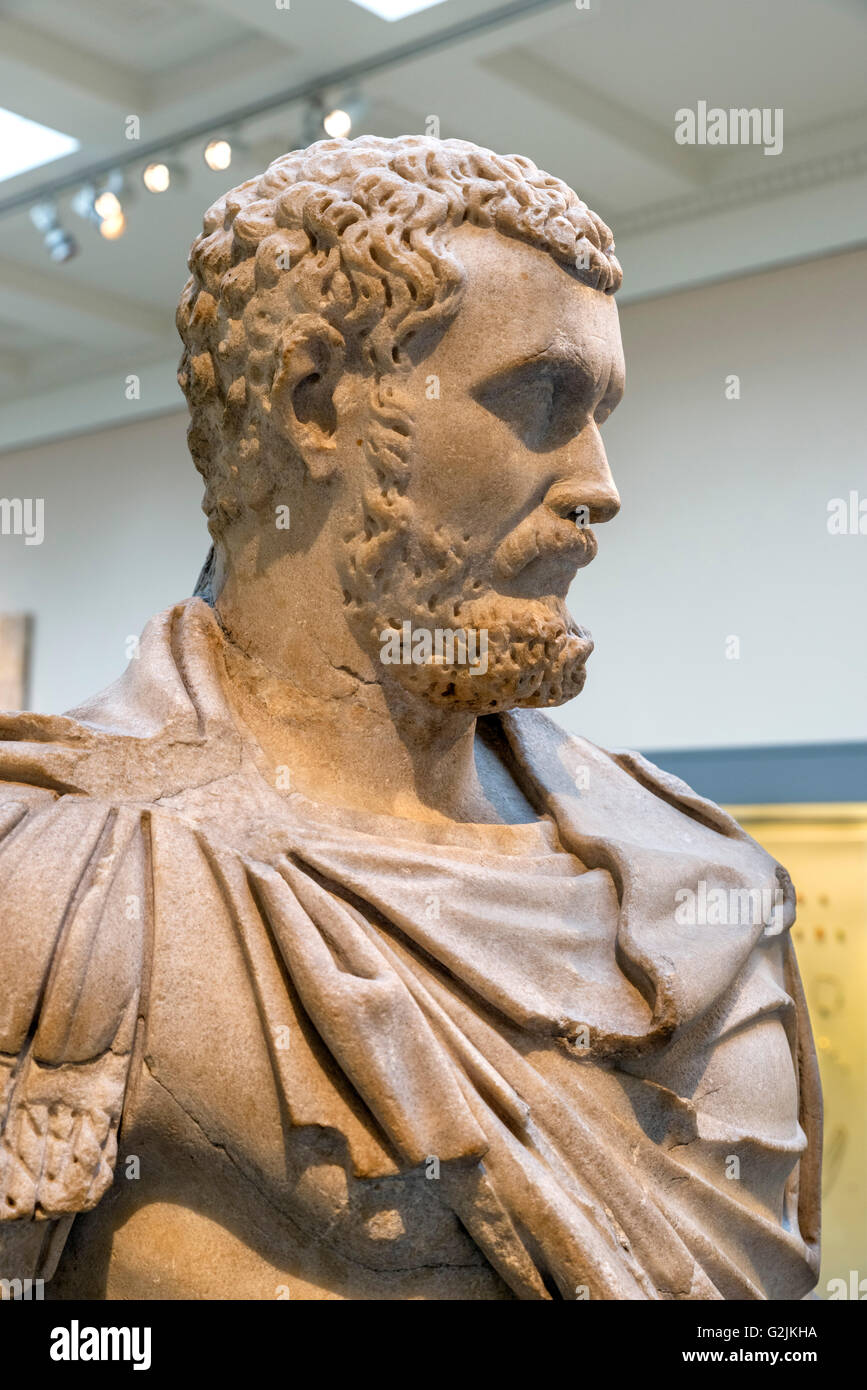 Marble portrait statue of the emperor Septimius Severus in military dress (AD 145 - 211), twenty-first Emperor of - Stock Image