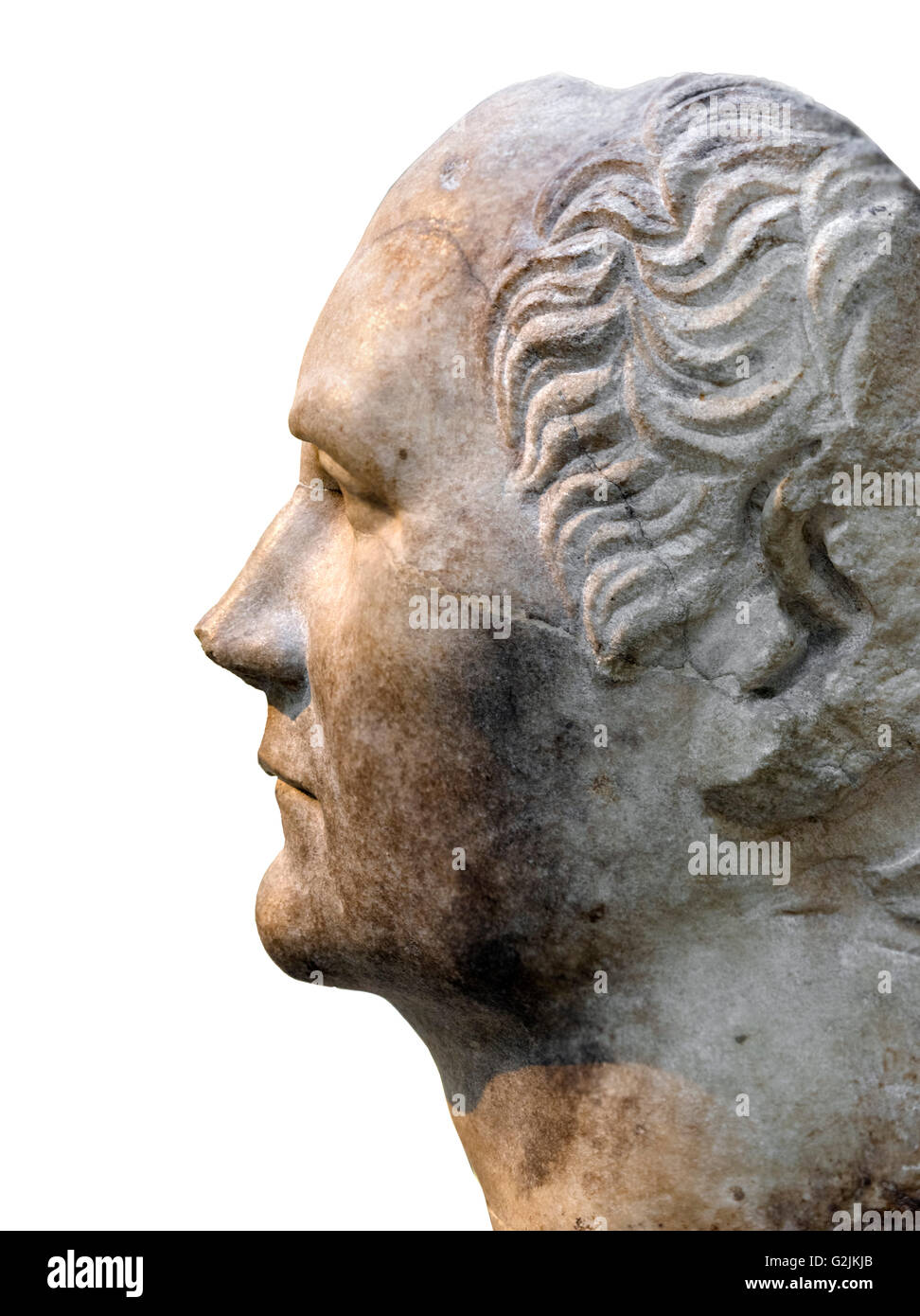 Julius Caesar. Marble head from a statue, found in the Sanctuary of Athena Polias, probably of Julius Caesar. - Stock Image