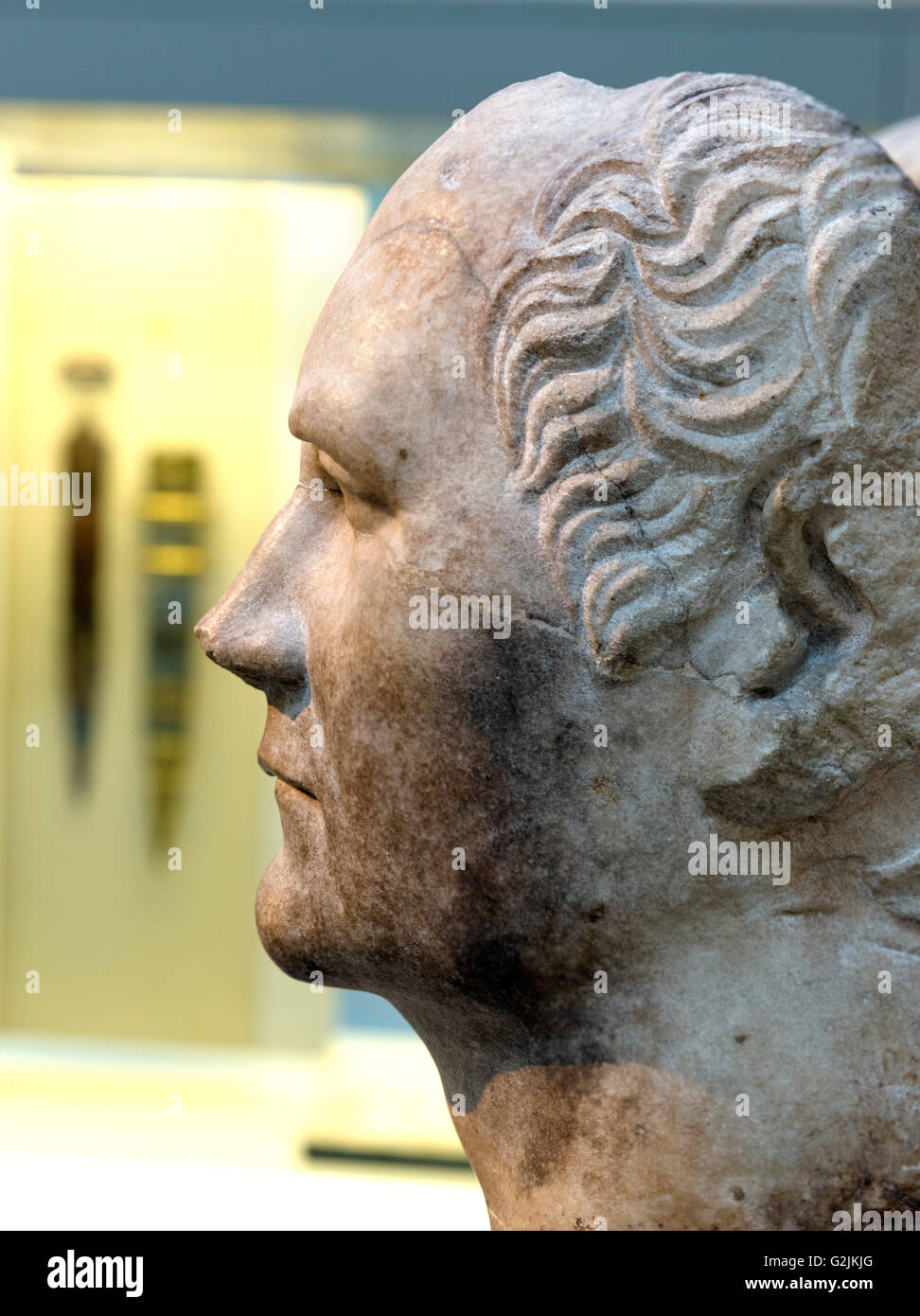 Marble head from a statue, found in the Sanctuary of Athena Polias, probably of Julius Caesar (100 BC - 44 BC), - Stock Image