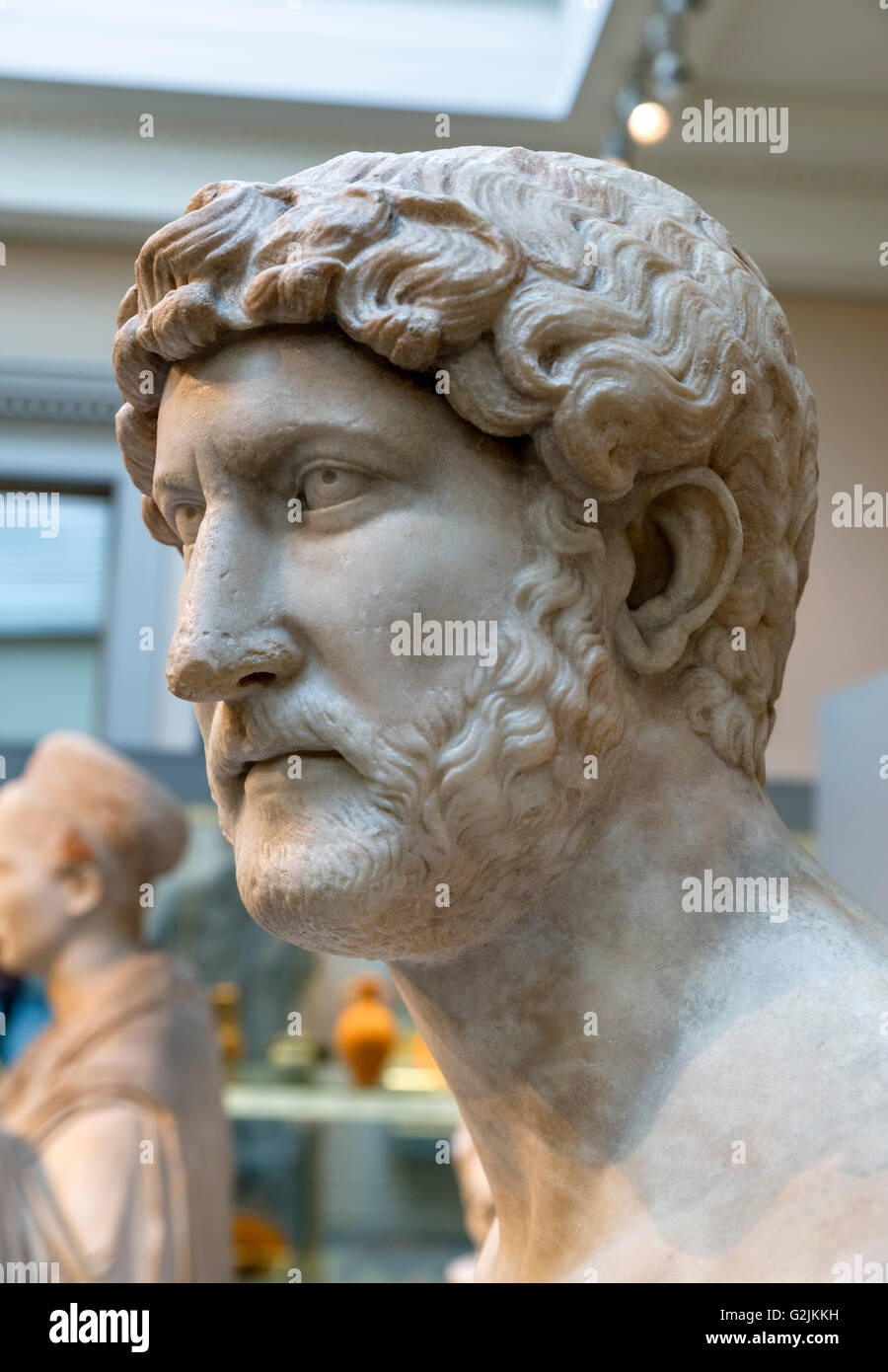 Marble bust of the Emperor Hadrian (AD 76 – 138), fourteenth Emperor of the Roman Empire (AD 117-138), date of statue - Stock Image