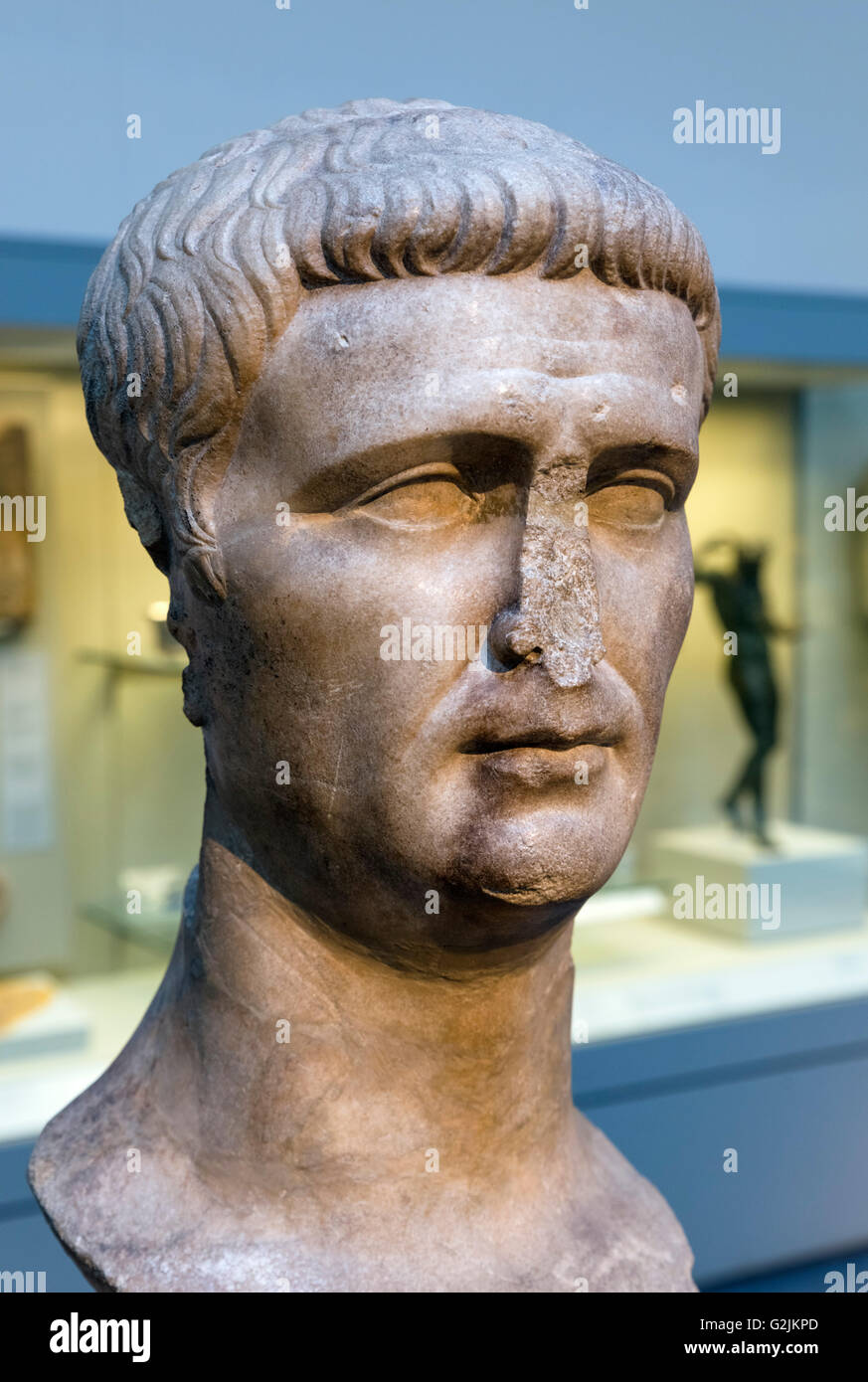 Marble head from a statue of the Emperor Claudius (10 BC – 54 AD), fourth Emperor of the Roman Empire (AD 41-54), - Stock Image