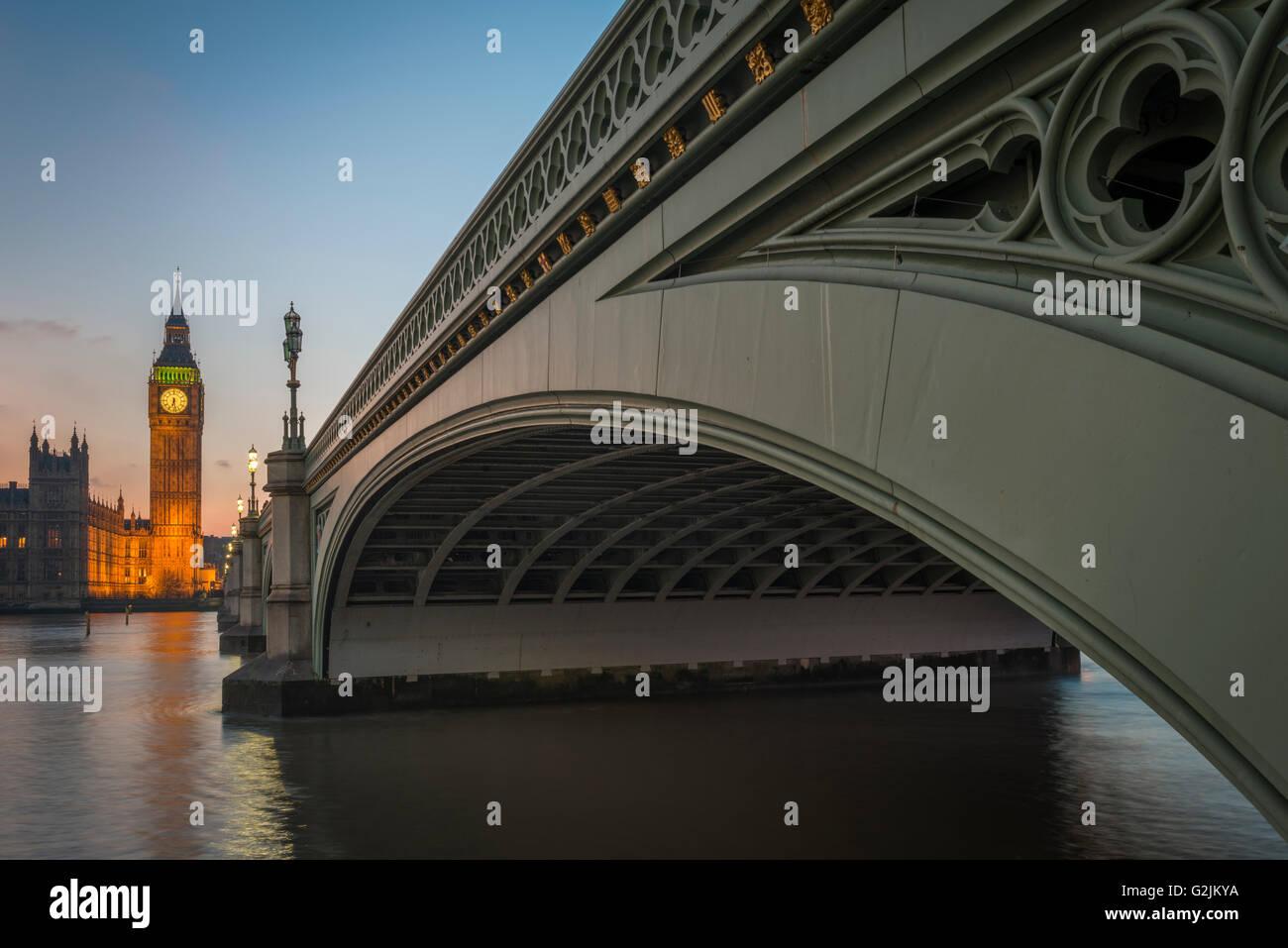 The Big Ben and Westminster Bridge at Night,London,UK - Stock Image