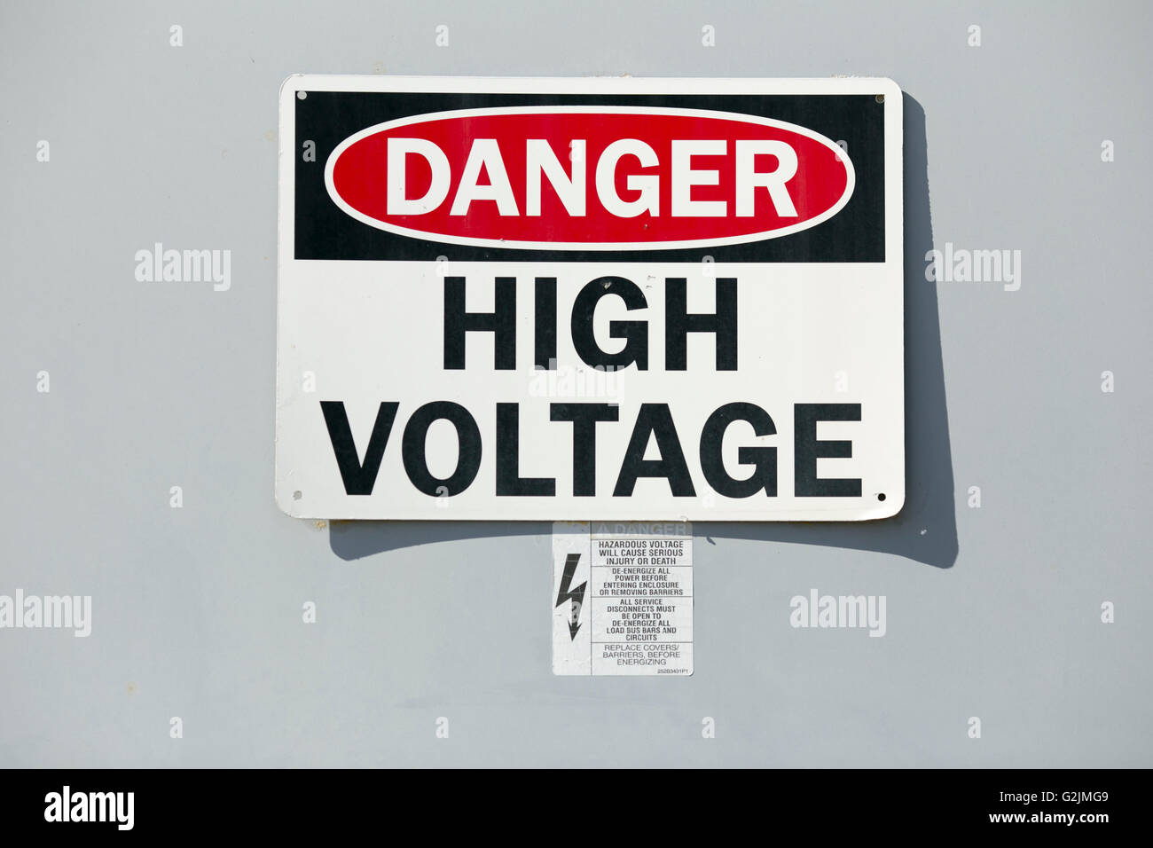 Signage directing Danger, High Voltage Stock Photo: 104902793 - Alamy