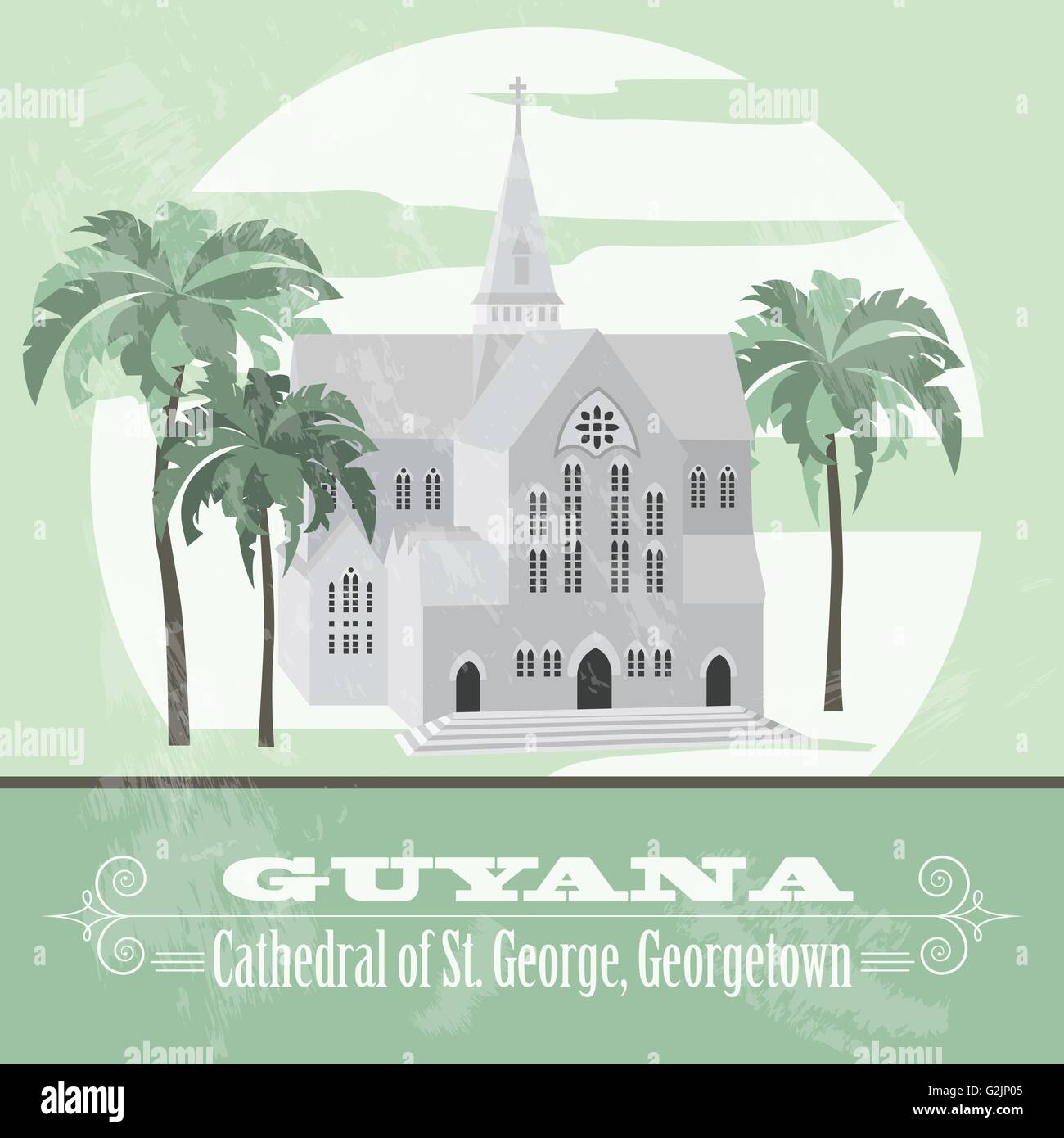 Guyana  landmarks. Retro styled image.  Cathedral of St. George, Georgetown. Vector illustration - Stock Vector
