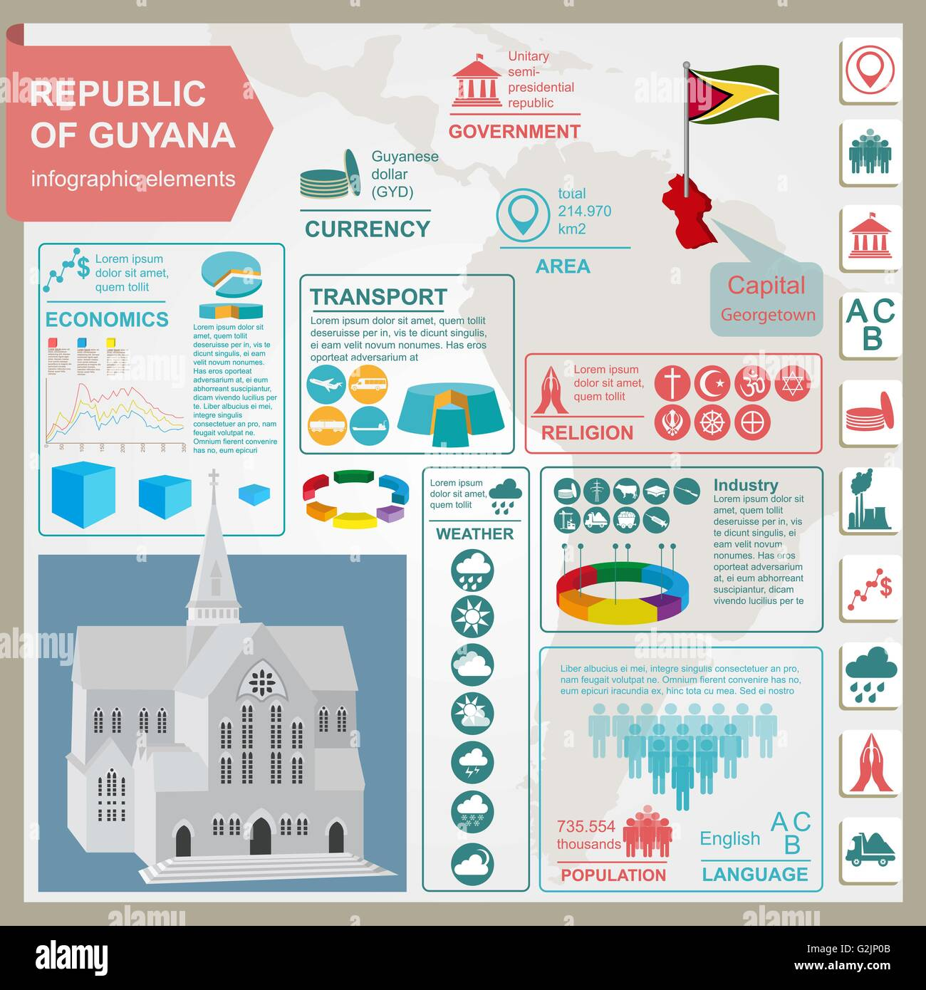 Guyana infographics, statistical data, sights. Cathedral of St. George, Georgetown. Vector illustration - Stock Vector