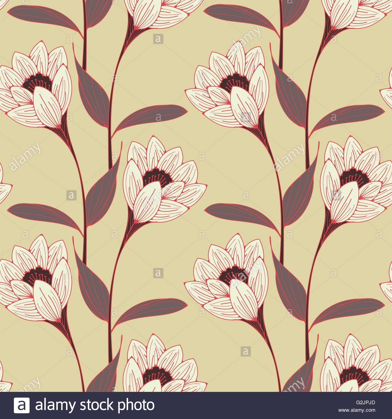 A Vintage English Style Floral Wallpaper Seamless Tiles With Stock
