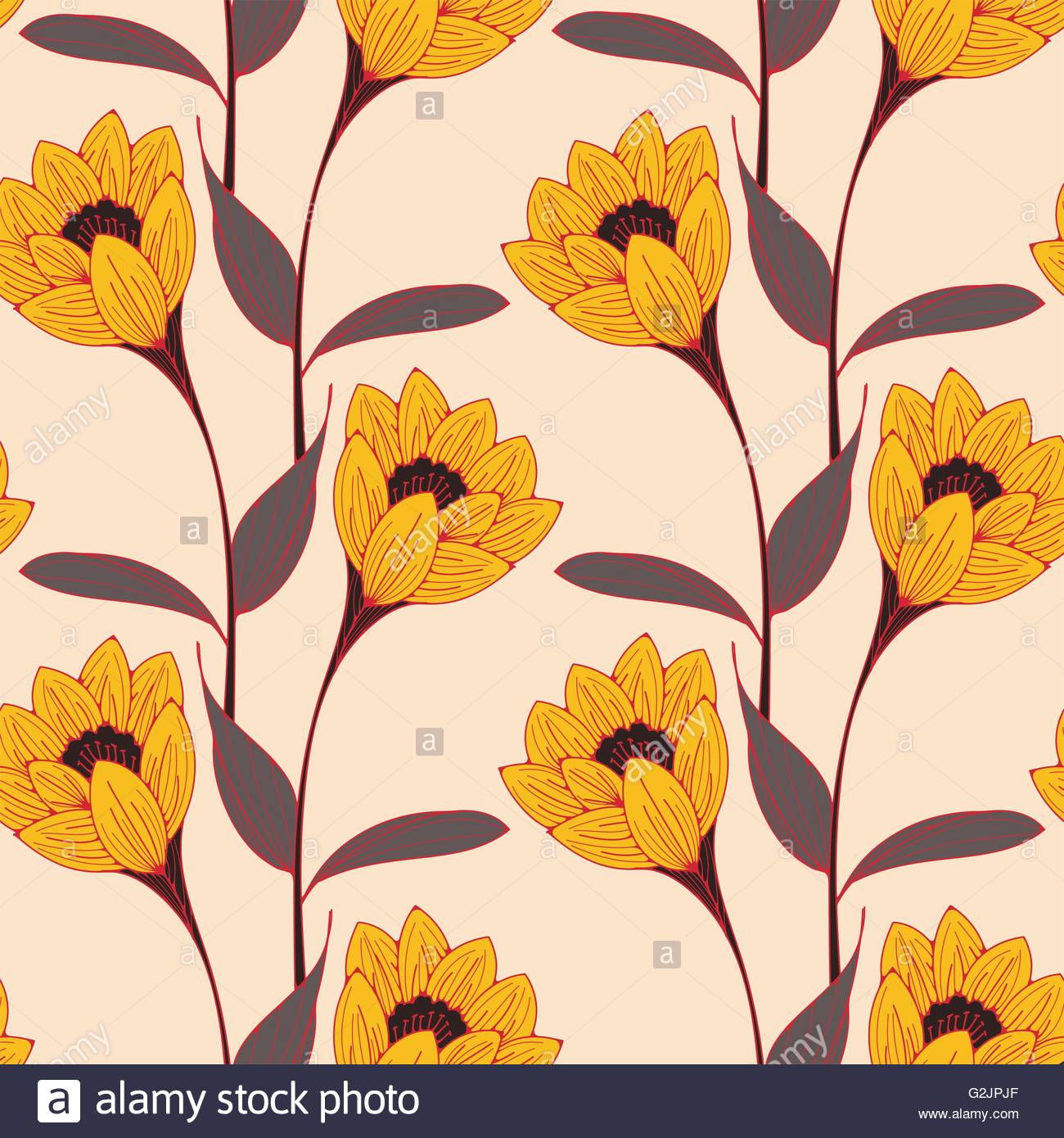 A vintage english style floral wallpaper seamless tiles with stock a vintage english style floral wallpaper seamless tiles with crocus like flowers in yellow black and red shades mightylinksfo
