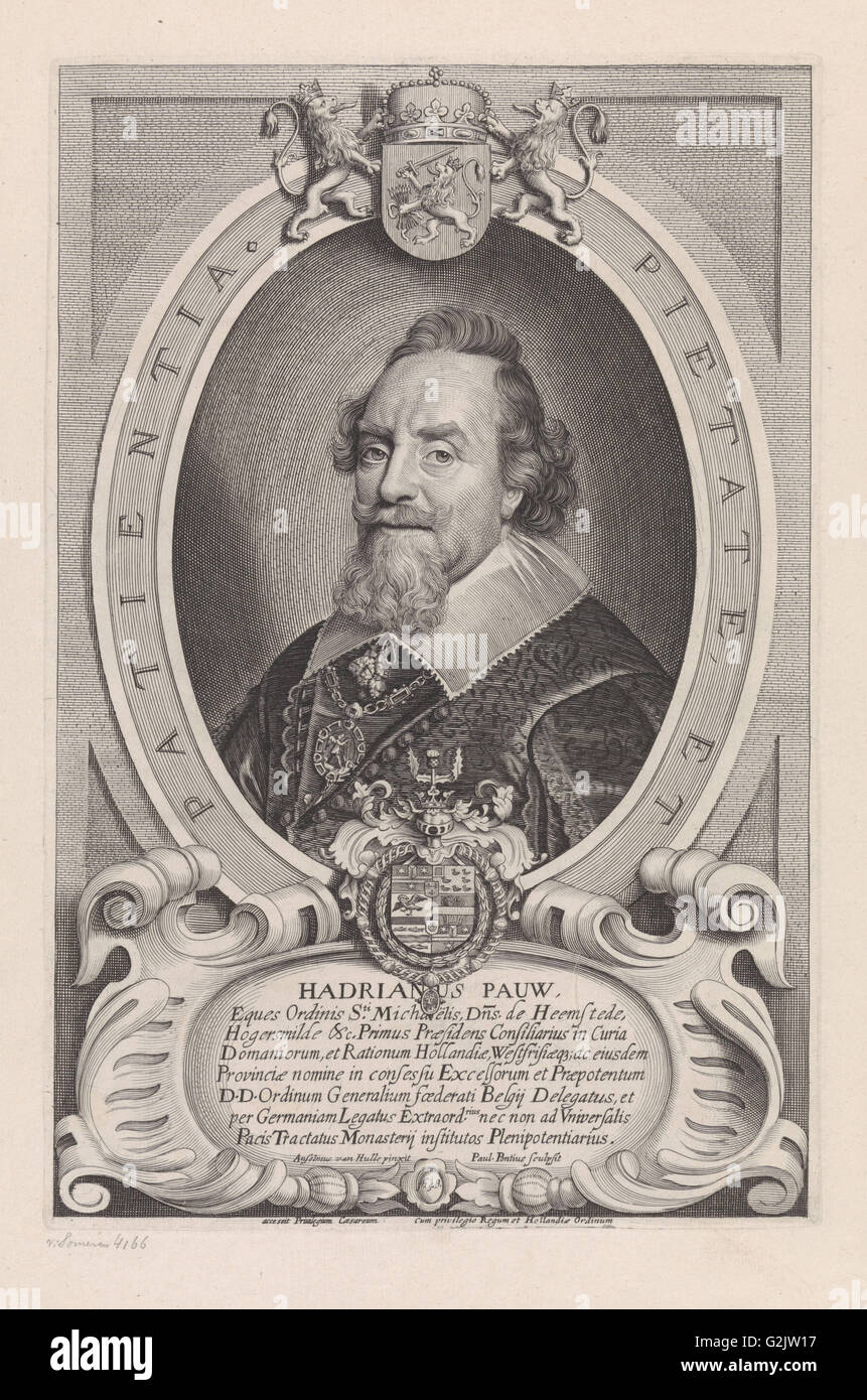 Portrait of Adriaen Pauw, print maker: Paulus Pontius, Anselm van Hulle, unknown, 1648 and/or 1697 - Stock Image