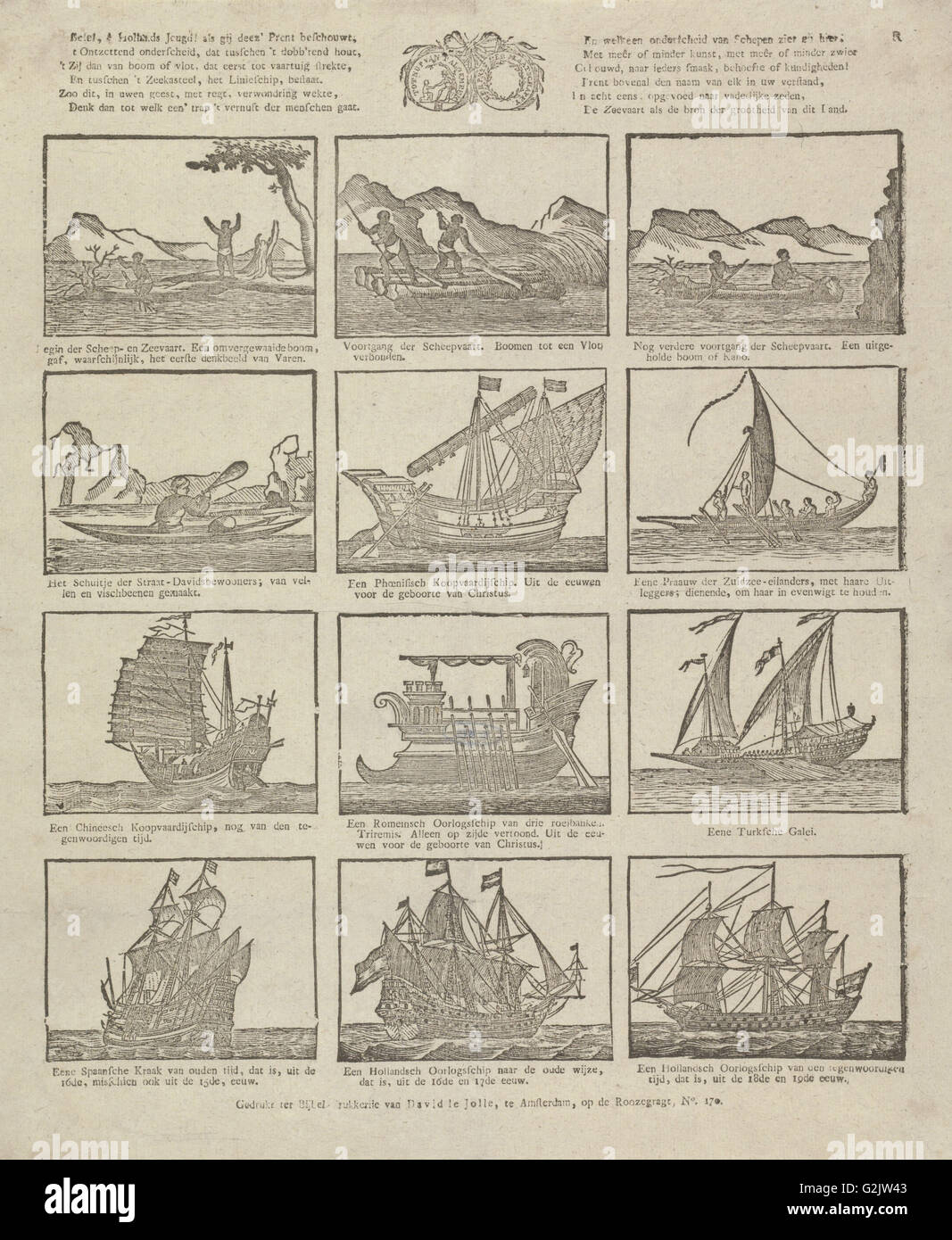 Print showing various old ships, David le Jolle, Anonymous, 1814 - c. 1820 Stock Photo
