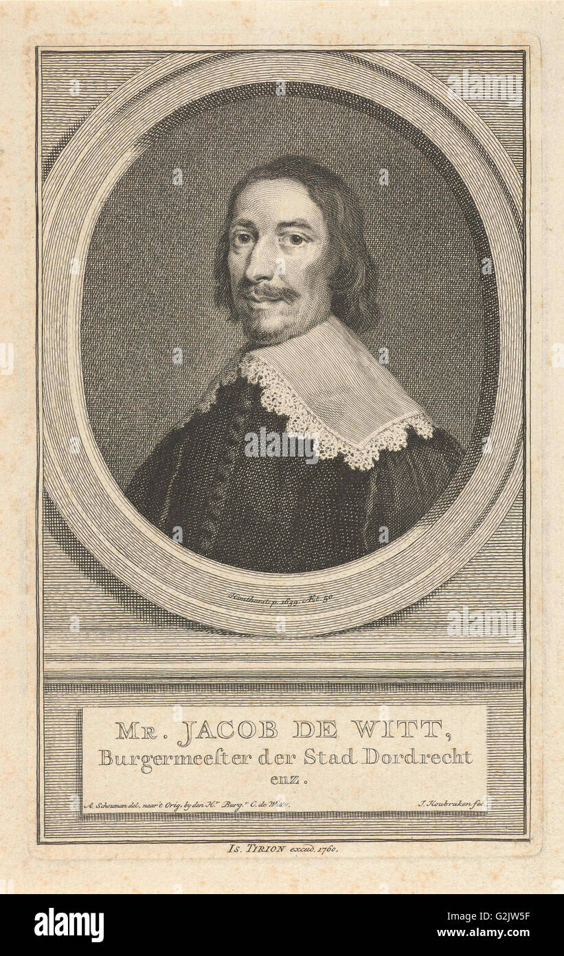 Portrait of Jacob de Witt, Jacob Houbraken, Isaak Tirion, 1760 - Stock Image