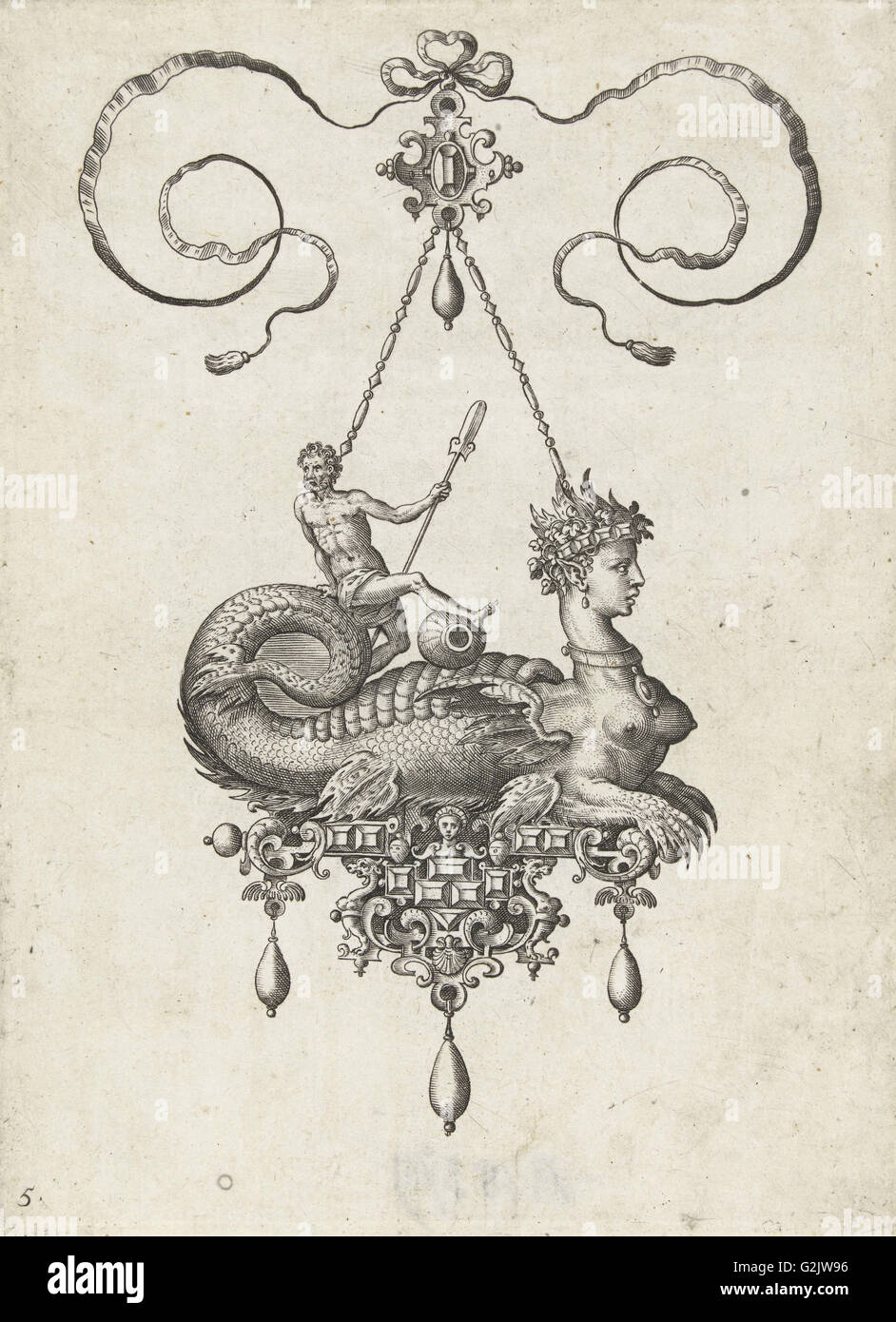 Pendant with sphinx, Adriaen Collaert, Hans Collaert (I), Philips Galle, 1582 - Stock Image