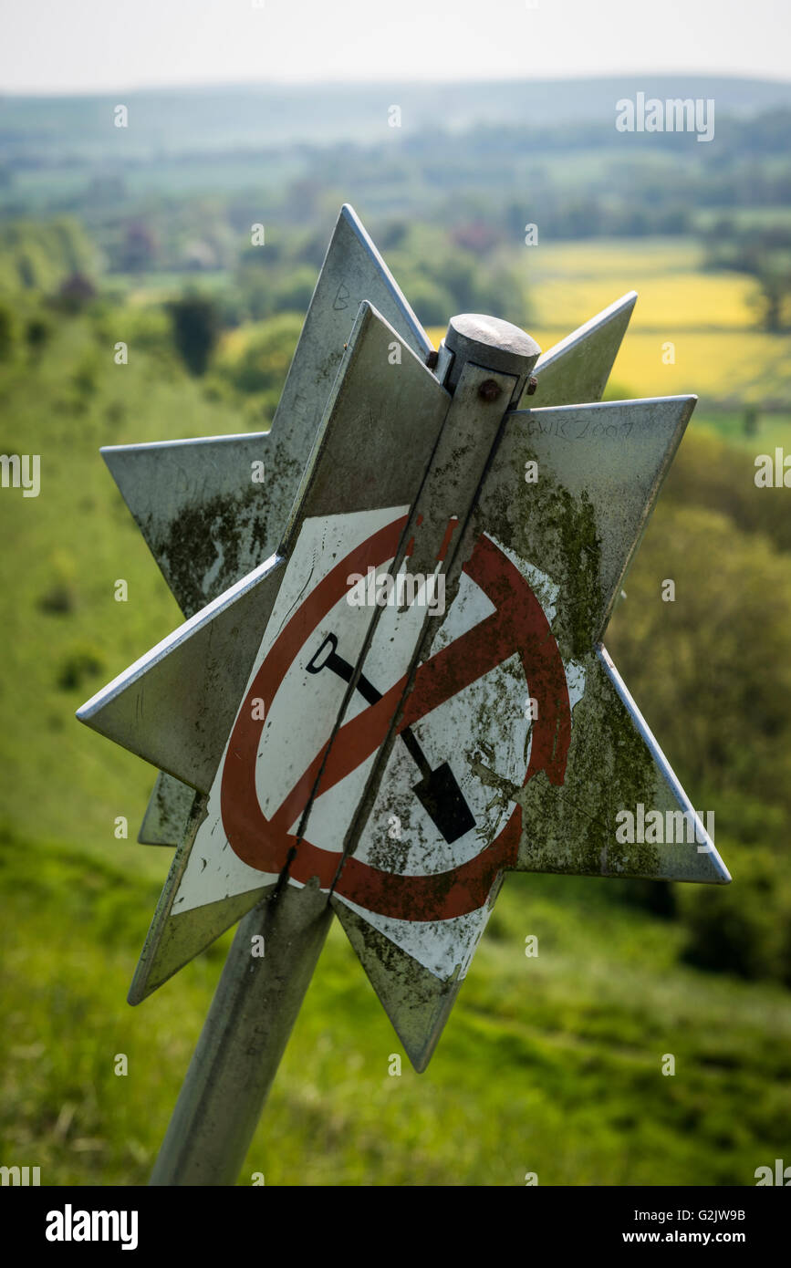 Archaeological 'No Digging' star sign on Scratchbury Iron Age Hill Fort near Warminster, Wiltshire, UK - Stock Image