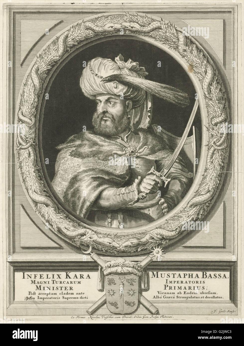 Portrait of Kara Mustafa Pasha, Jacob Gole, Nicolaas Visscher (II), Republiek der Zeven Verenigde Nederlanden, 1670 - Stock Image