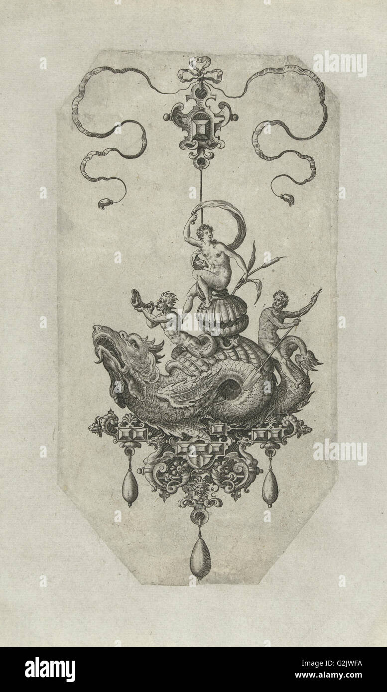 Pendant with dragon with a double shell on his back, print maker: Adriaen Collaert, Hans Collaert I, Philips Galle - Stock Image