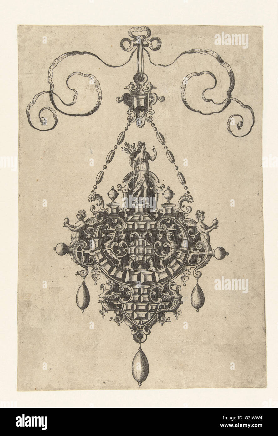 Pendant which a goddess with laurel, Anonymous, Hans Collaert (I), Philips Galle, 1581 - Stock Image