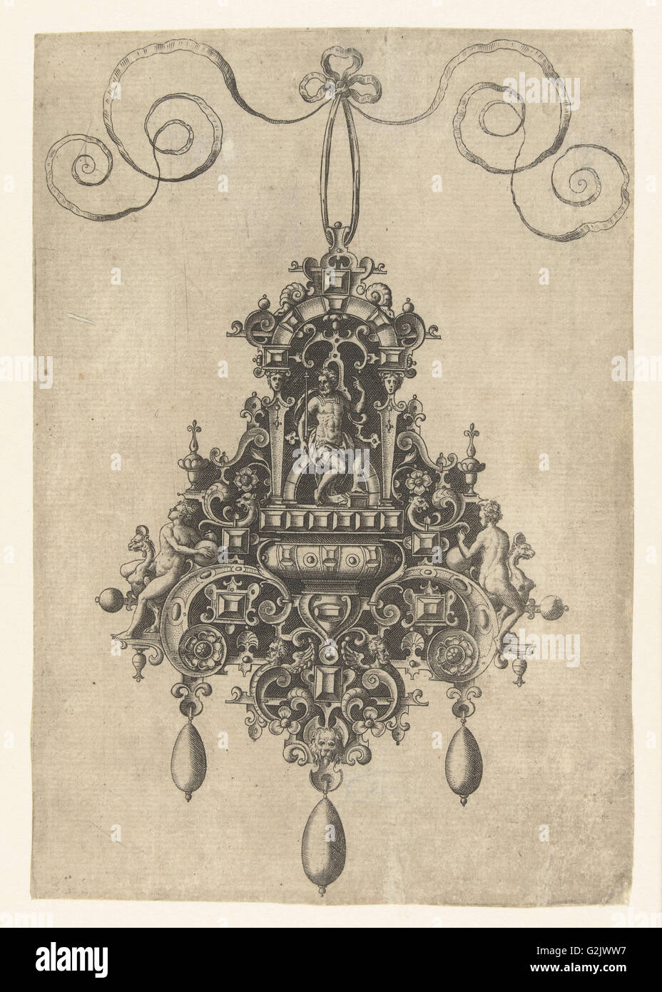 Hanger with armored seated deity, print maker: Anonymous, Hans Collaert I, Philips Galle, 1581 - Stock Image