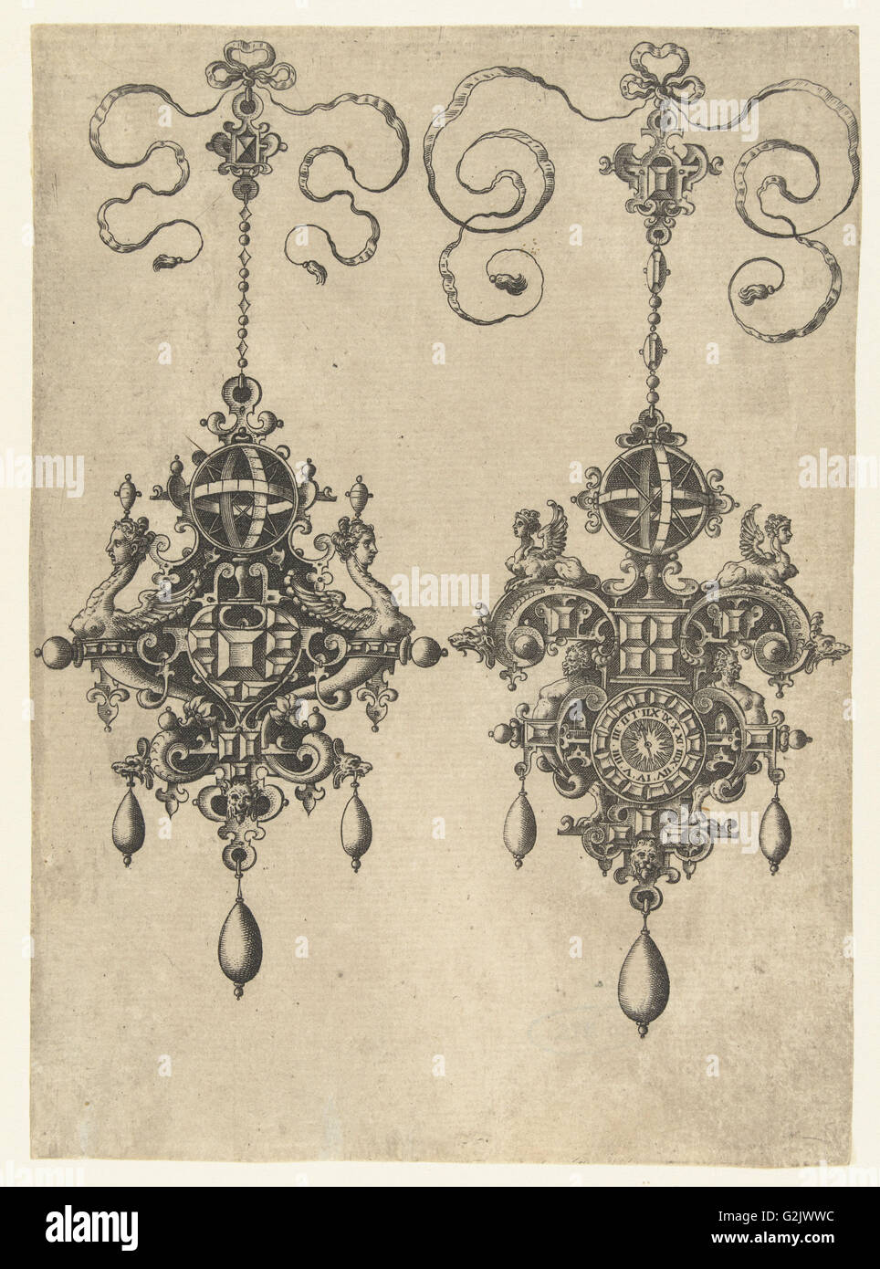 Two pendants with sundial, Anonymous, Hans Collaert (I), Philips Galle, 1581 - Stock Image