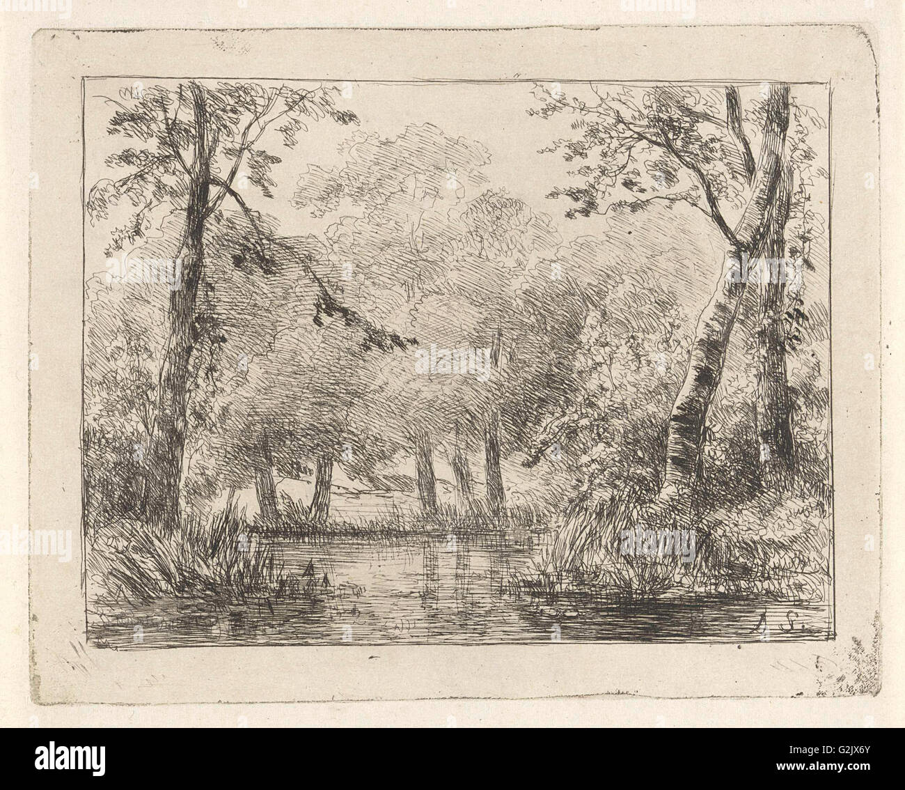 Forest scene with pond, Andreas Schelfhout, 1852 - Stock Image