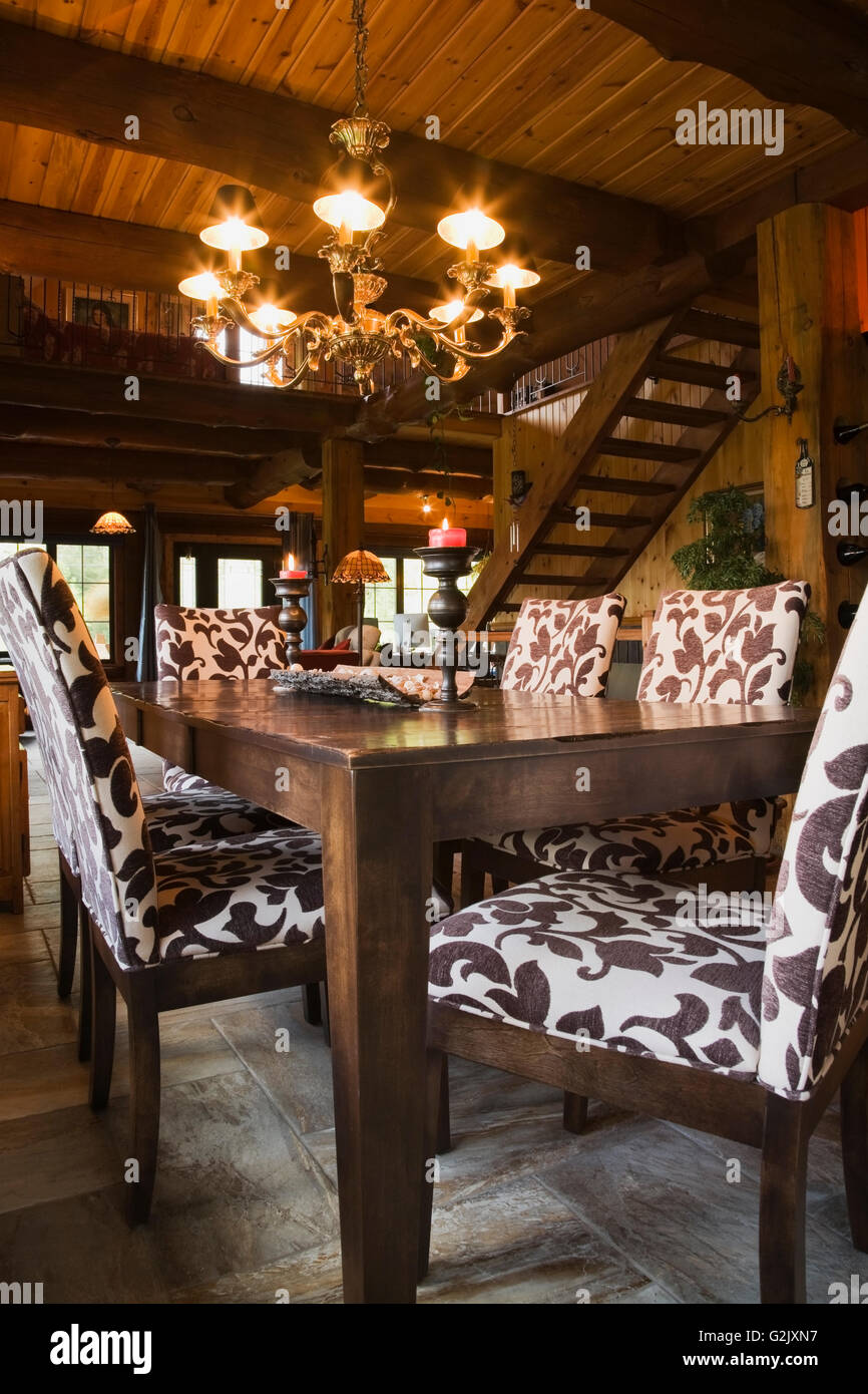 dining room wooden table upholstered chairs inside a cottage style