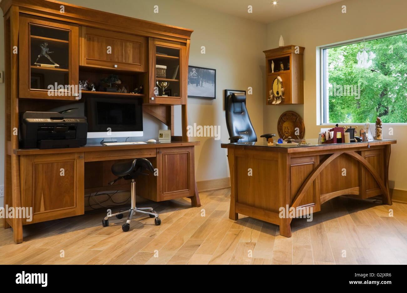 Cherry Wood Work Desk Wall Unit In Office Inside A Modern Cubist