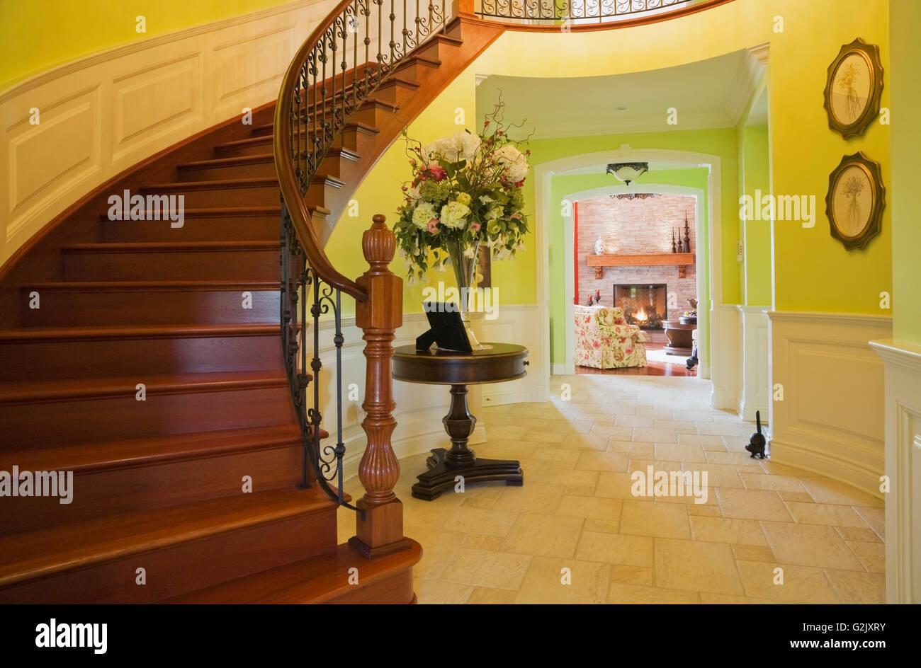 Groovy Curved Wooden Staircase Hallway Leading Living Room Lit Gas Interior Design Ideas Truasarkarijobsexamcom