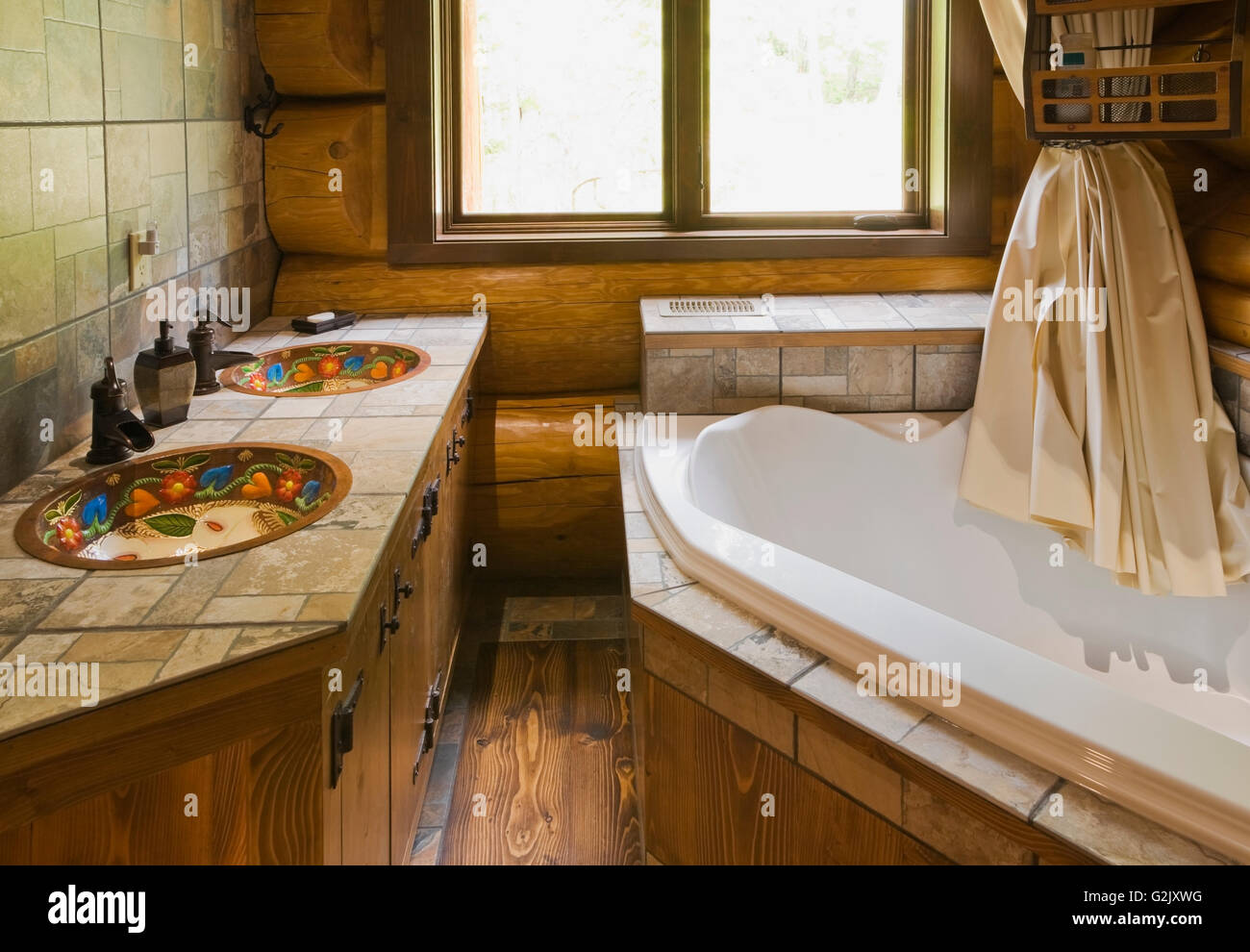 Ceramic Tile Countertop Inlaid Hand Painted Copper Sinks Bathtub In Main Bathroom Inside A Handcrafted Red Cedar Log Home