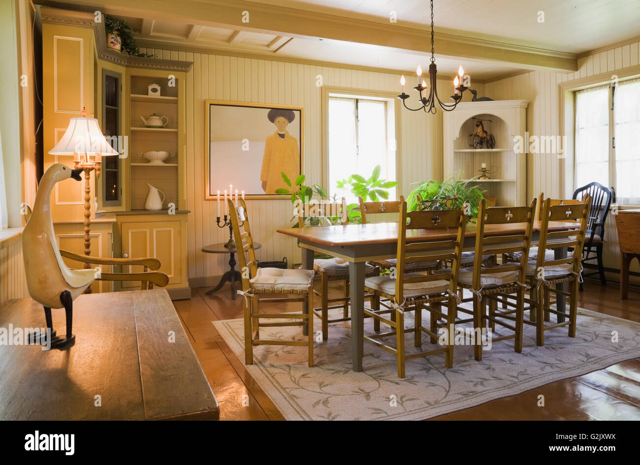 Antique wooden table chairs in dining room inside old reconstructed ...