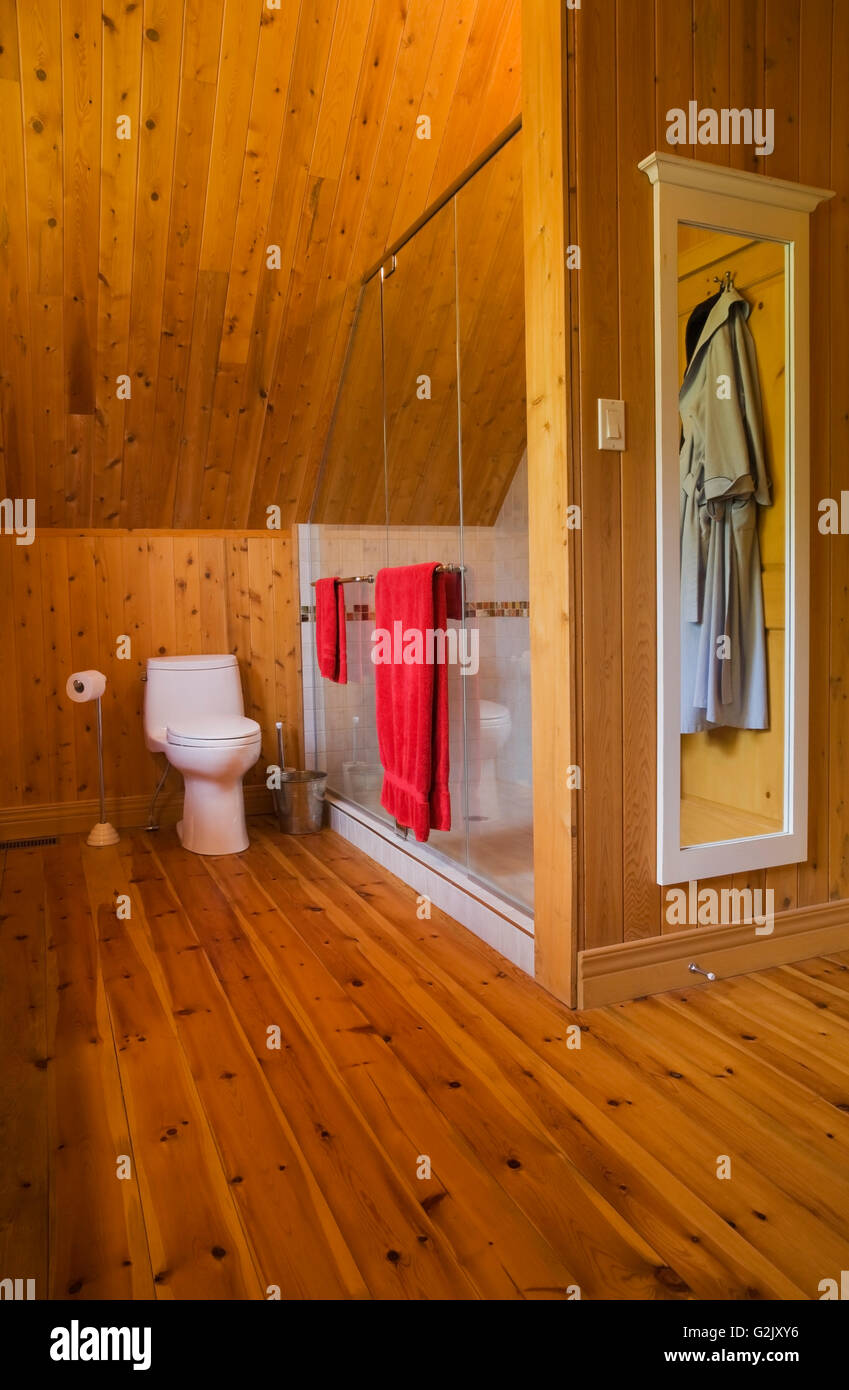 Master Bedroom Ensuite Glass Shower Stall Toilet On Upstairs Floor Inside A  Handcrafted Spruce Log Home Quebec Canada This