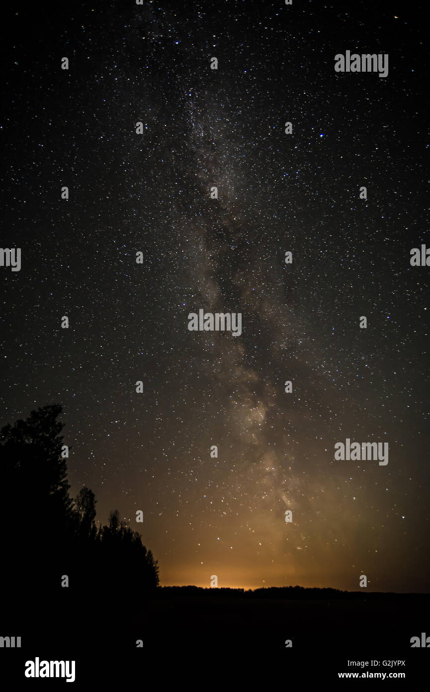 Milky Way, Nightscape, Prince George, British Columbia, Canada - Stock Image