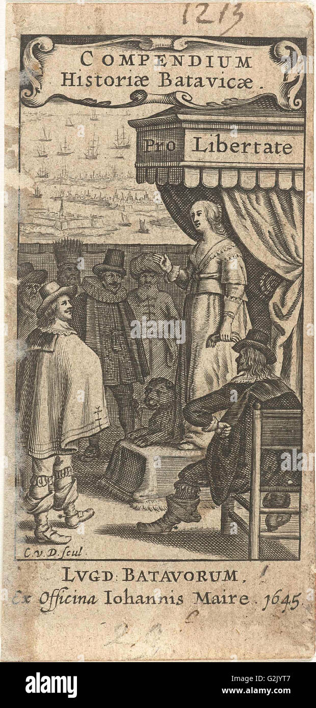 Dutch Virgin with lion on throne speaks to men from different countries, with title cartouche, Cornelis van Dalen - Stock Image