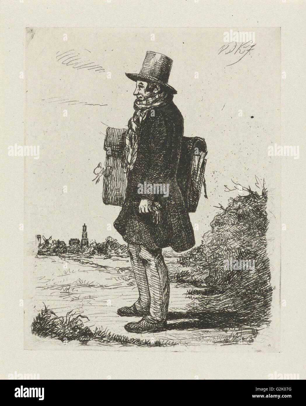 Portrait of the painter and printmaker Hermanus Jan Hendrik Rijkelijkhuizen, standing in a landscape at Utrecht, Stock Photo