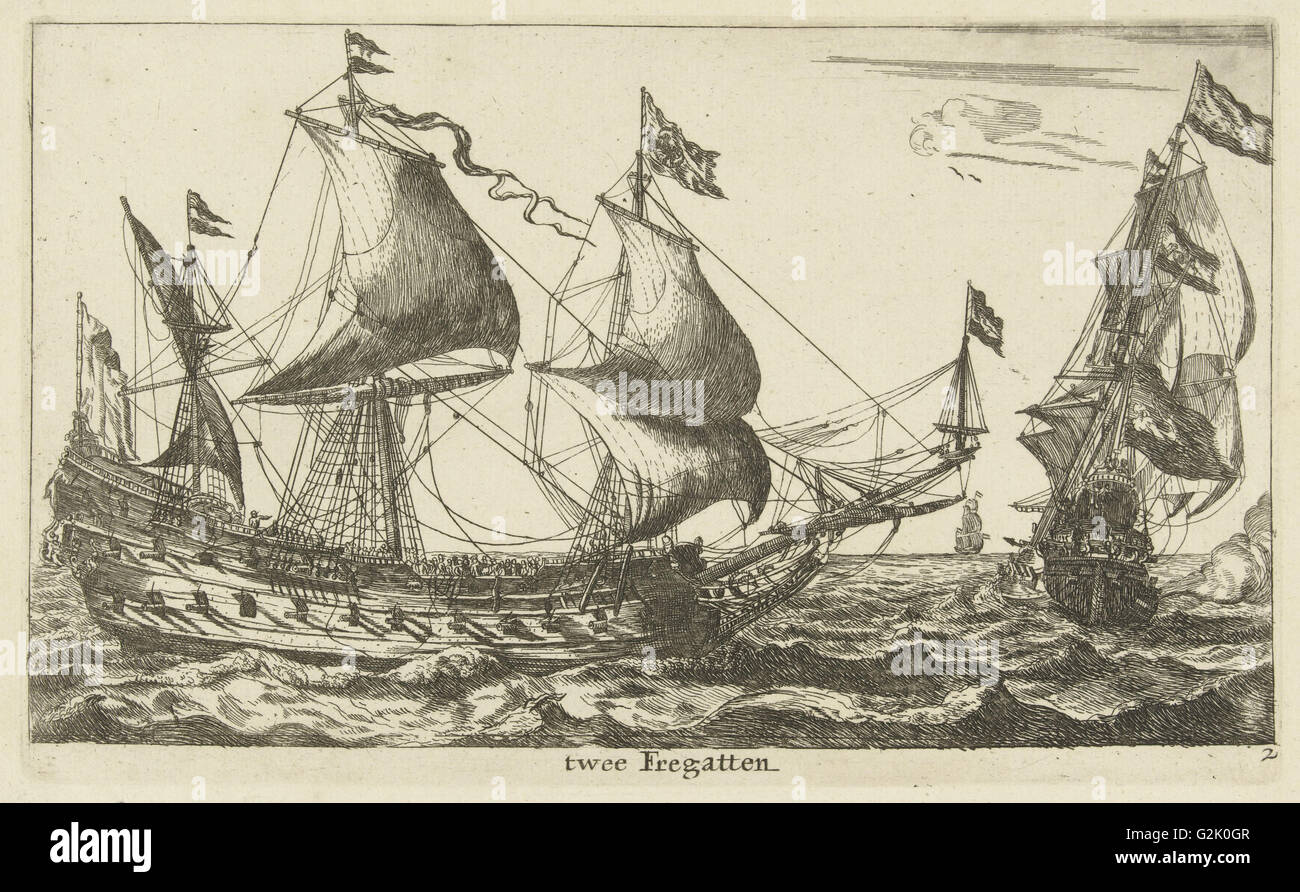 Two Dutch frigates, Anonymous, Reinier Nooms, 1652 - 1714 - Stock Image
