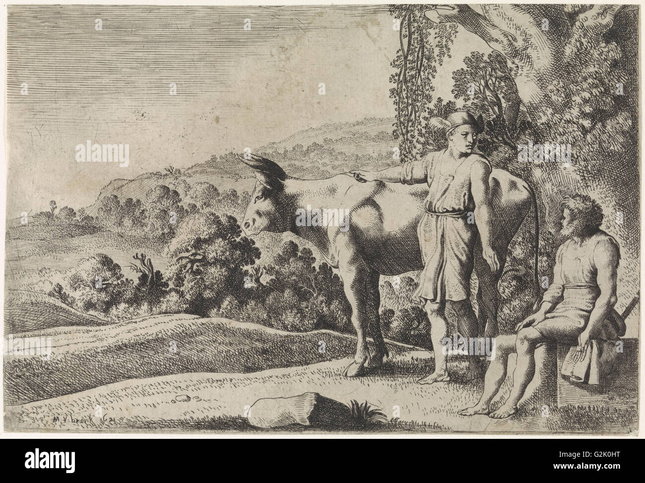 Mercury is pointing to the cow Io and looks at Argus, which sits on a stone block, scene from Ovid's Metamorphoses - Stock Image