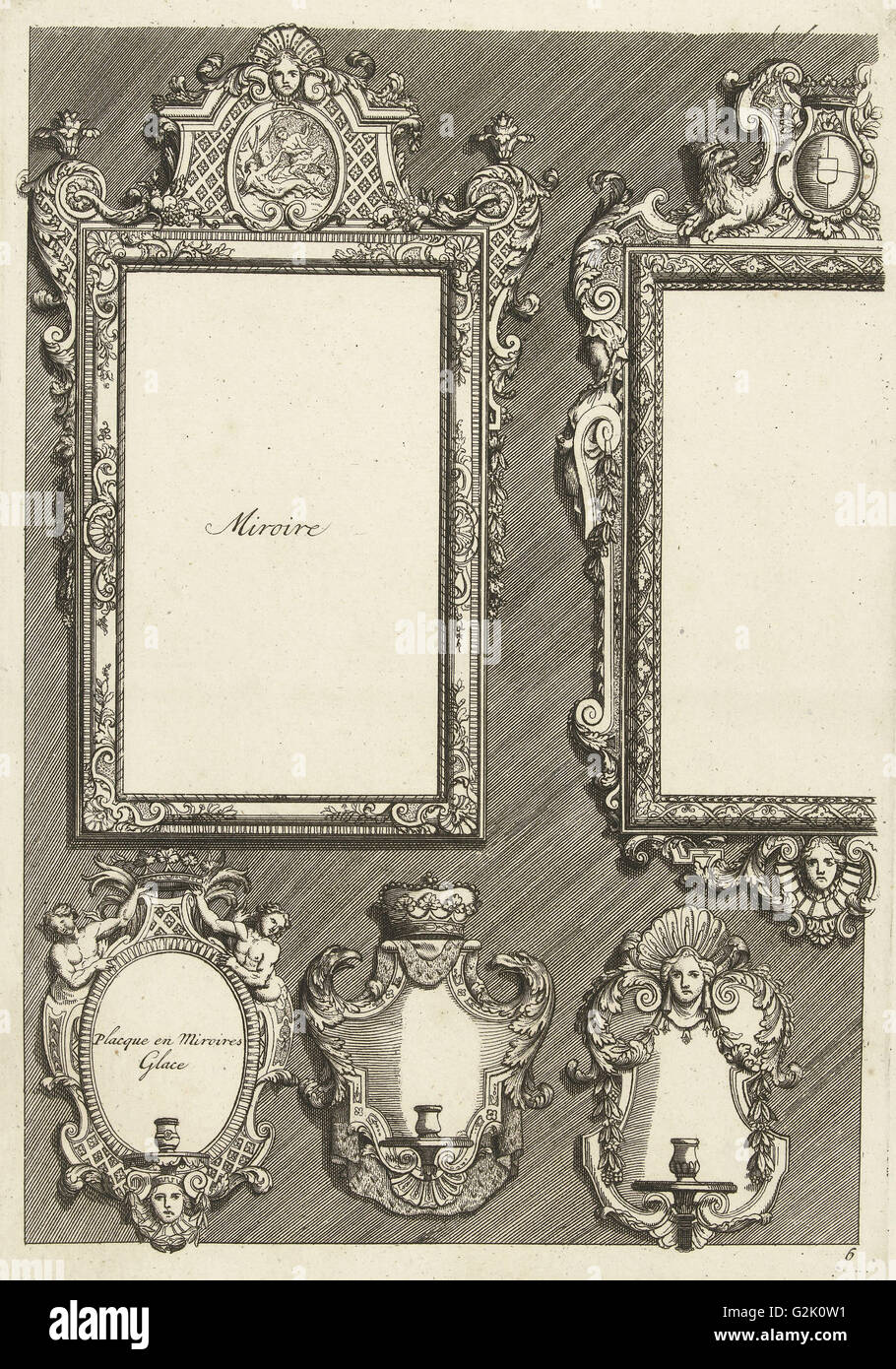 Two Rectangular Mirrors and Three Sconces, Daniël Marot I, print maker: Anonymous, after 1703 - before 1800 - Stock Image