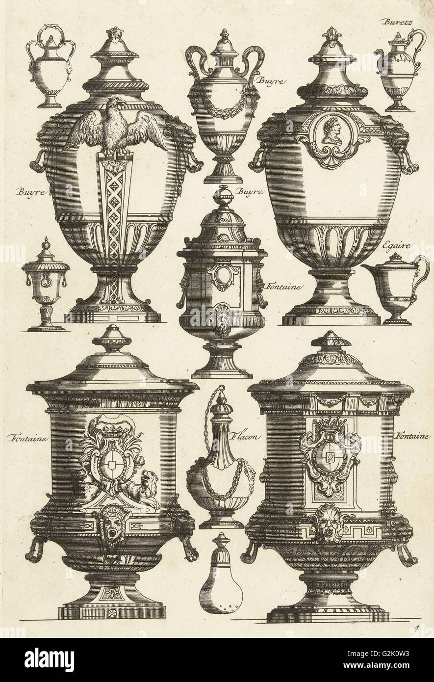 Twelve designs for goldsmiths, Daniël Marot (I), Anonymous, Anonymous, after 1703 - before 1800 - Stock Image