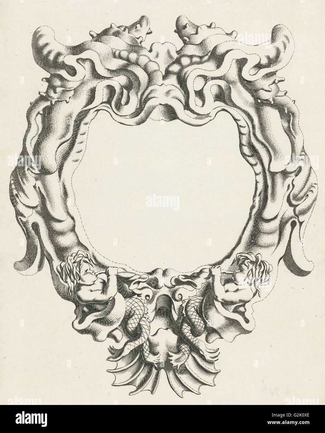 Cartouche with lobe ornament, down two sea gods, Michiel Mosijn, Gerbrand van den Eeckhout, Clement de Jonghe, 1640 - Stock Image