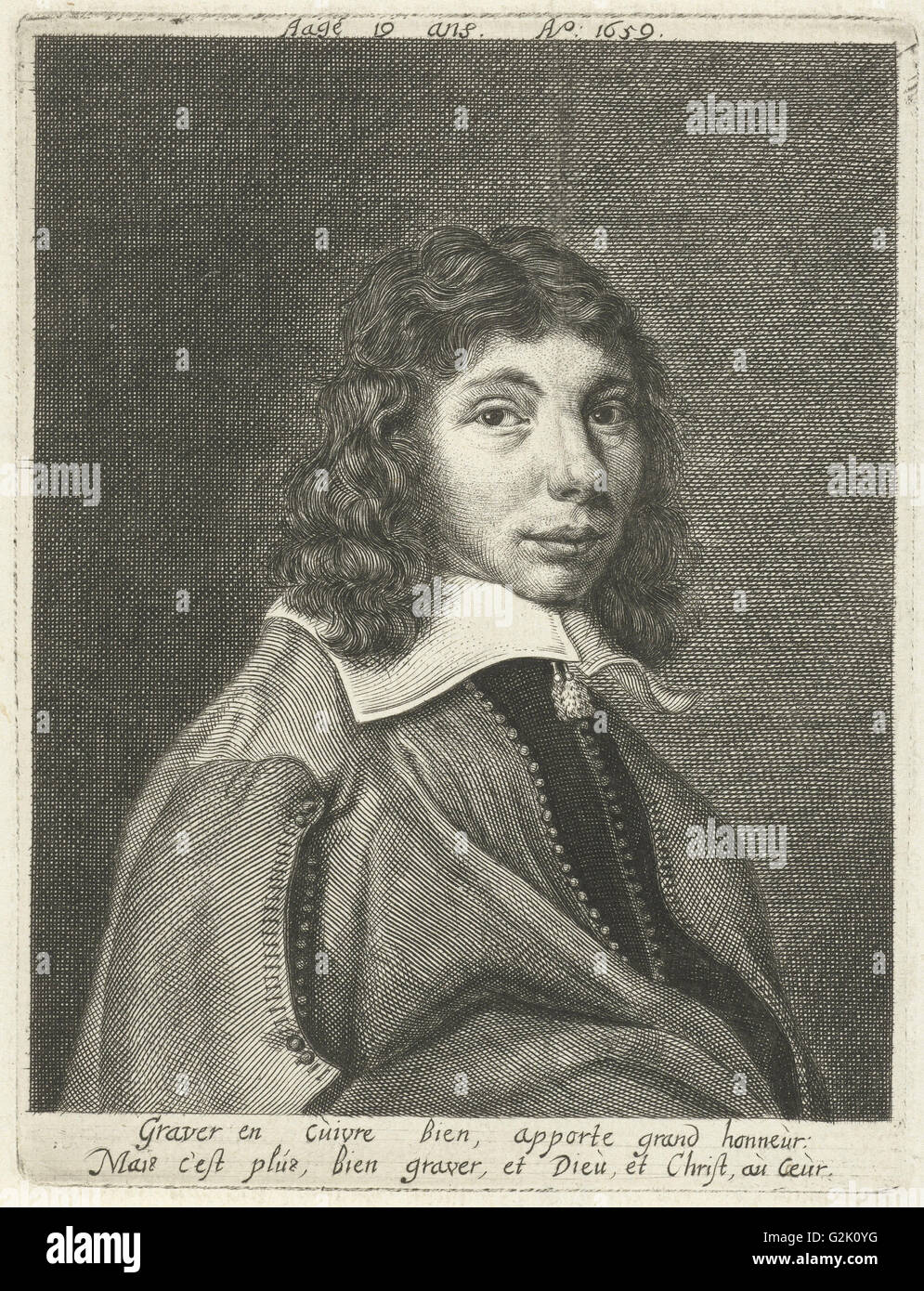 Self-portrait at the age of 19, Hendrik Bary, after 1659 - 1707Stock Photo
