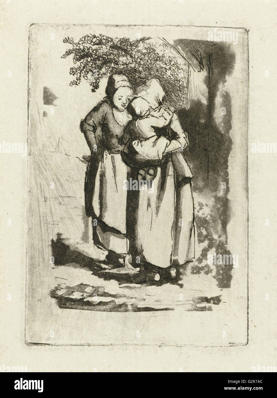 Two standing peasant women, one with a child on her arm, Marie Lambertine Coclers, 1776 - 1815 - Stock Image