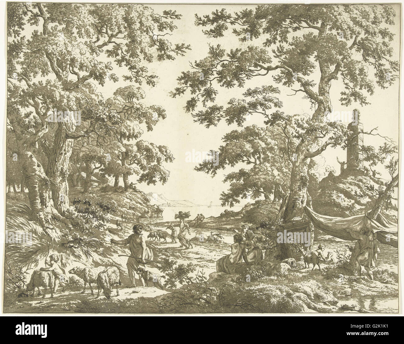 Arcadian landscape with Janus Picture, Marie Lambertine Coclers, 1776 - 1815 - Stock Image