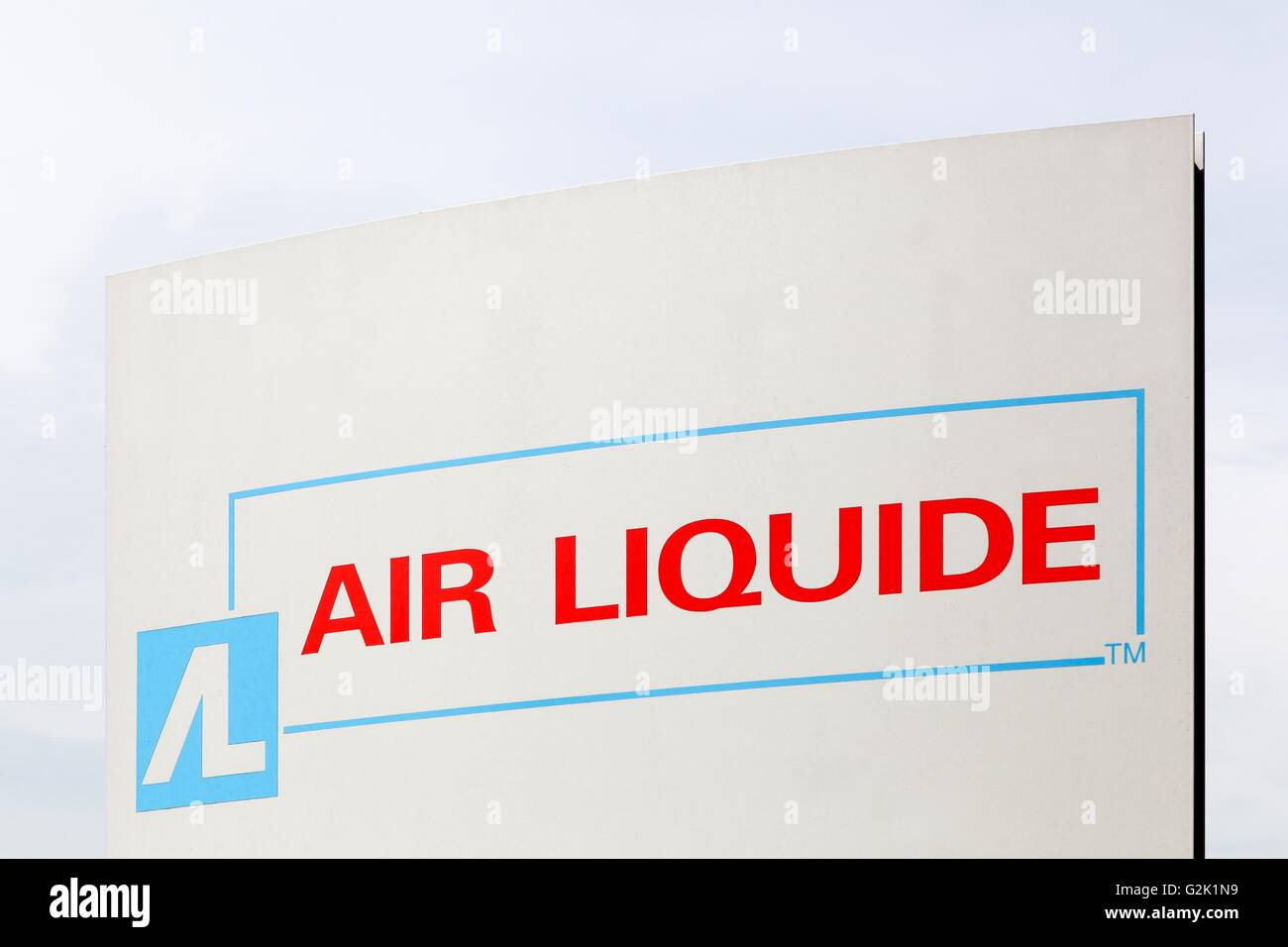 Air Liquide sign on a panel. Air Liquide is a french multinational company which supplies industrial gases - Stock Image